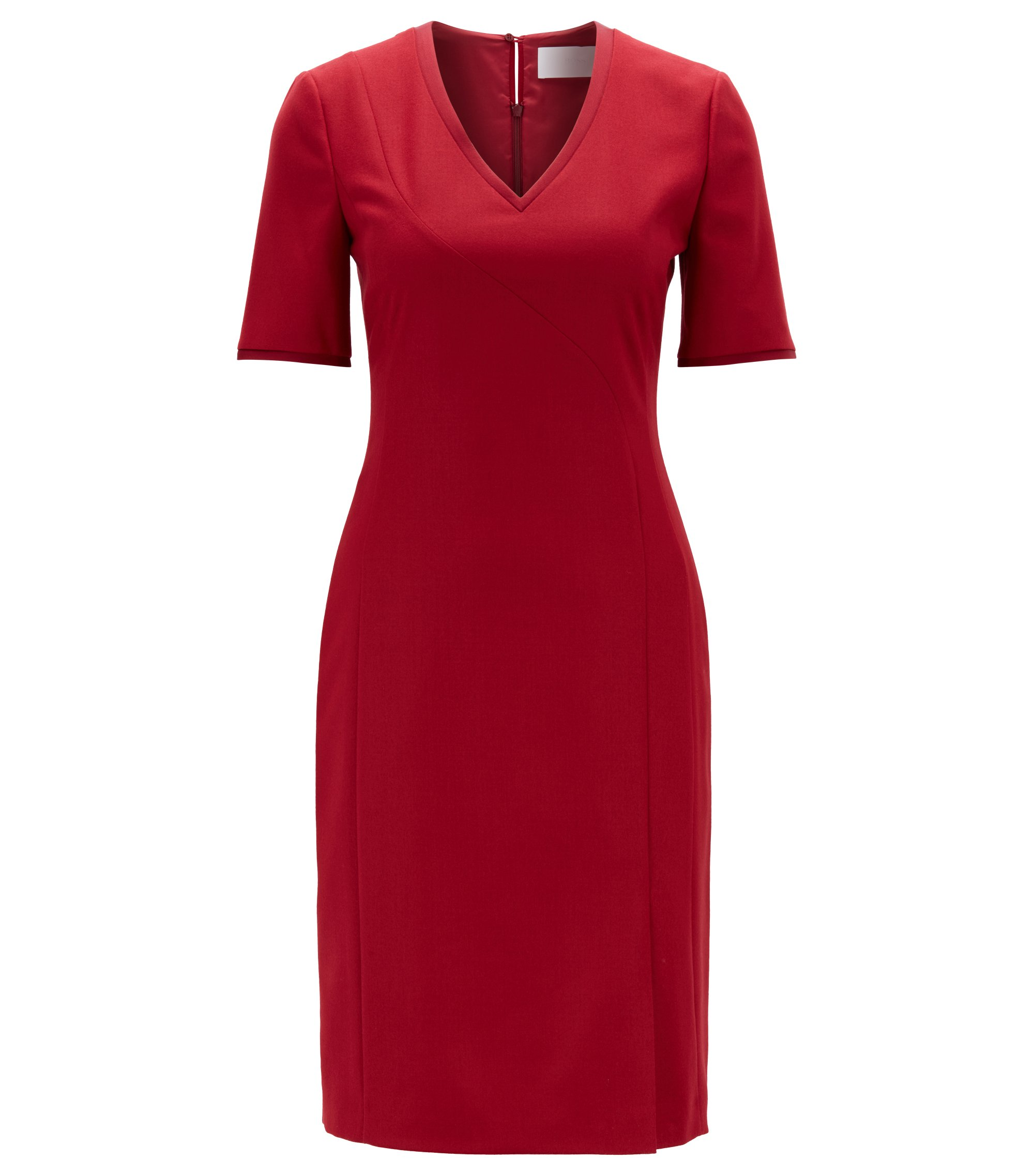 Short-sleeved dress in stretch virgin wool with V-neck, Dark Red