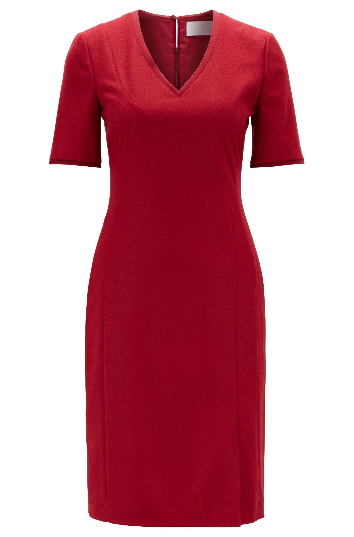 Kurzarm-Kleid aus elastischer Schurwolle mit V-Ausschnitt, Dunkelrot