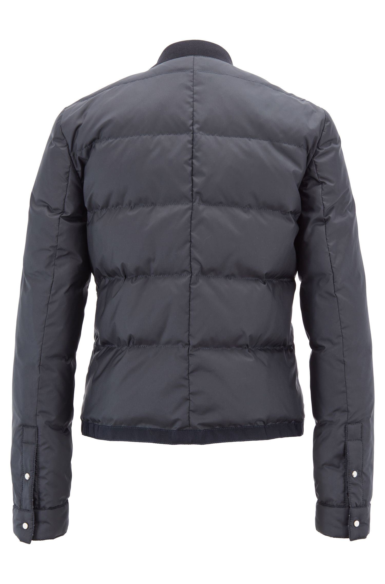 Down-filled bomber jacket with water-repellent outer