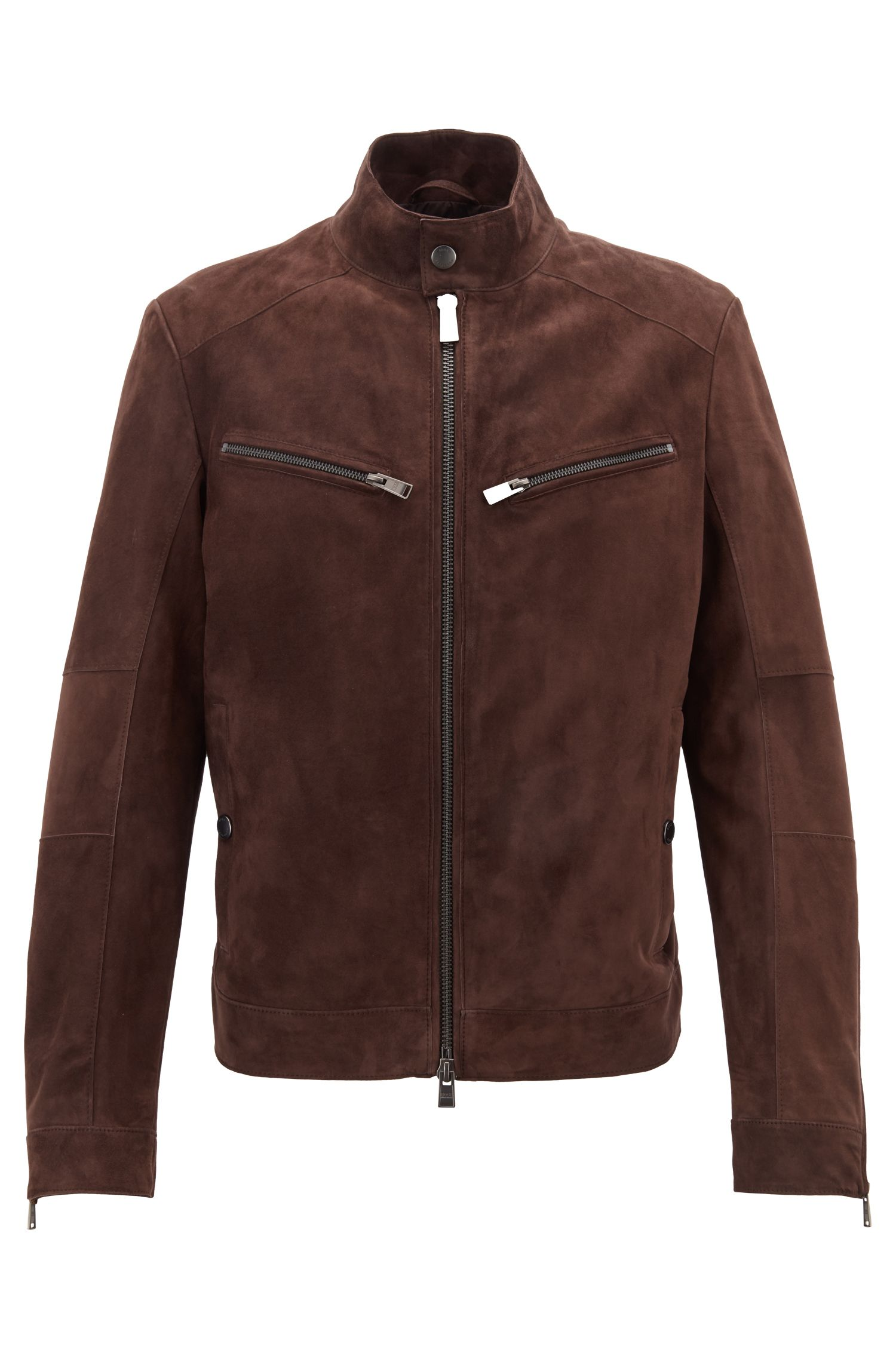 Cazadora biker regular fit en ante mixto, Marrón oscuro