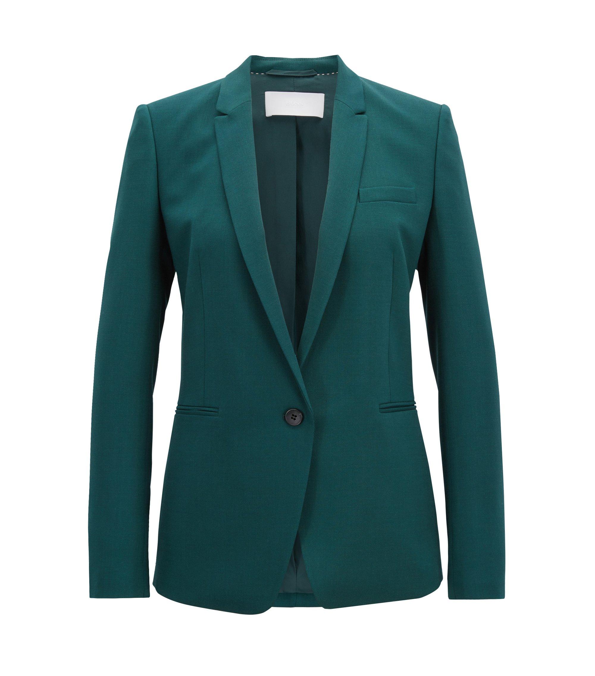 Chaqueta regular fit de un botón en lana virgen elástica, Verde