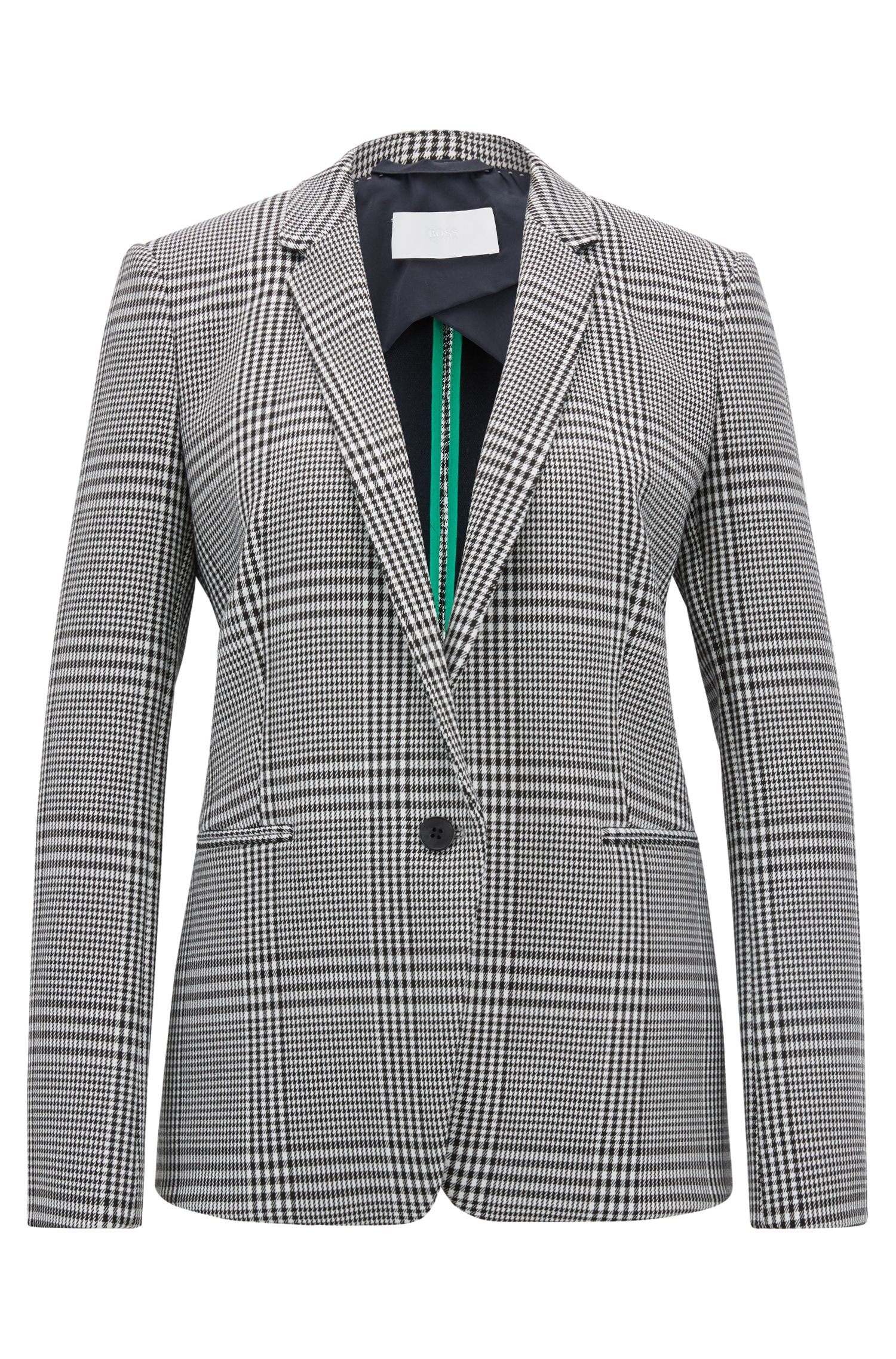 Single-button blazer in Glen-check stretch fabric, Patterned