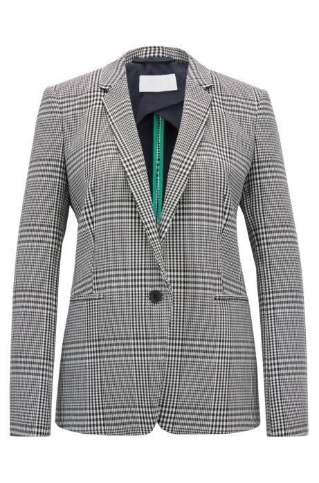 Single-button blazer in Glen-check stretch fabric, Patterned