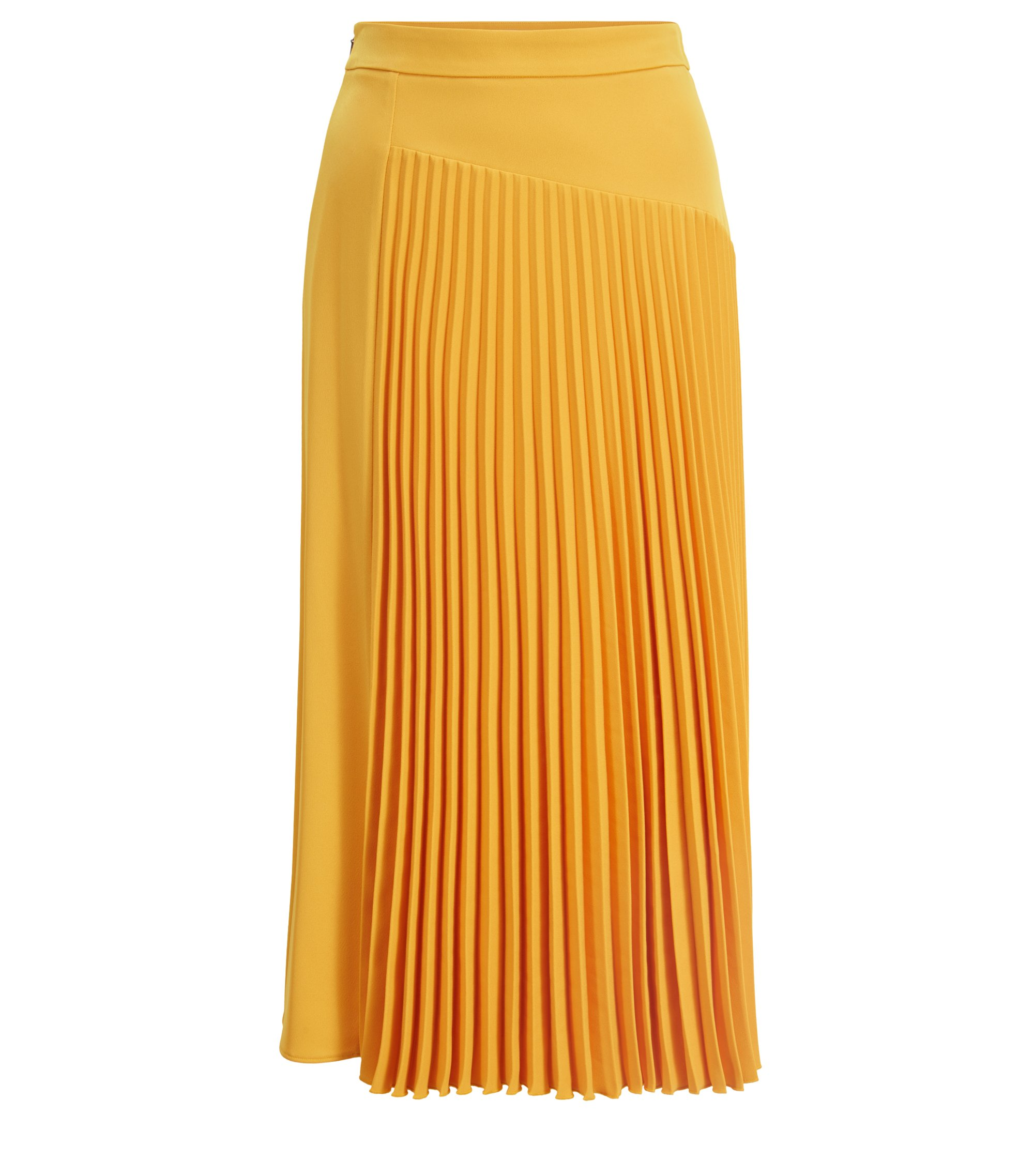A-line midi skirt with asymmetric plissé insert, Yellow