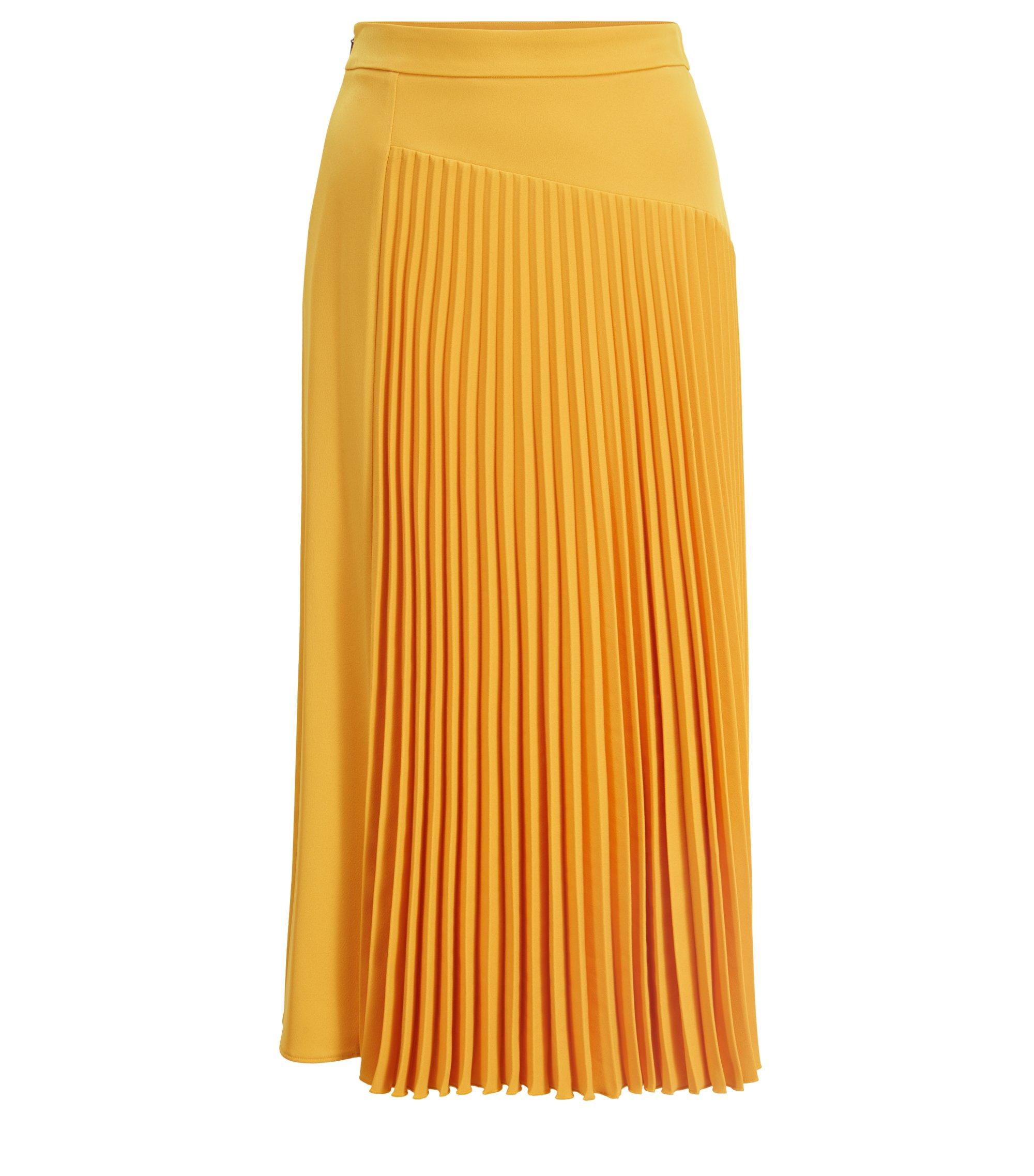 Falda midi evasé con aplique plisado asimétrico, Amarillo