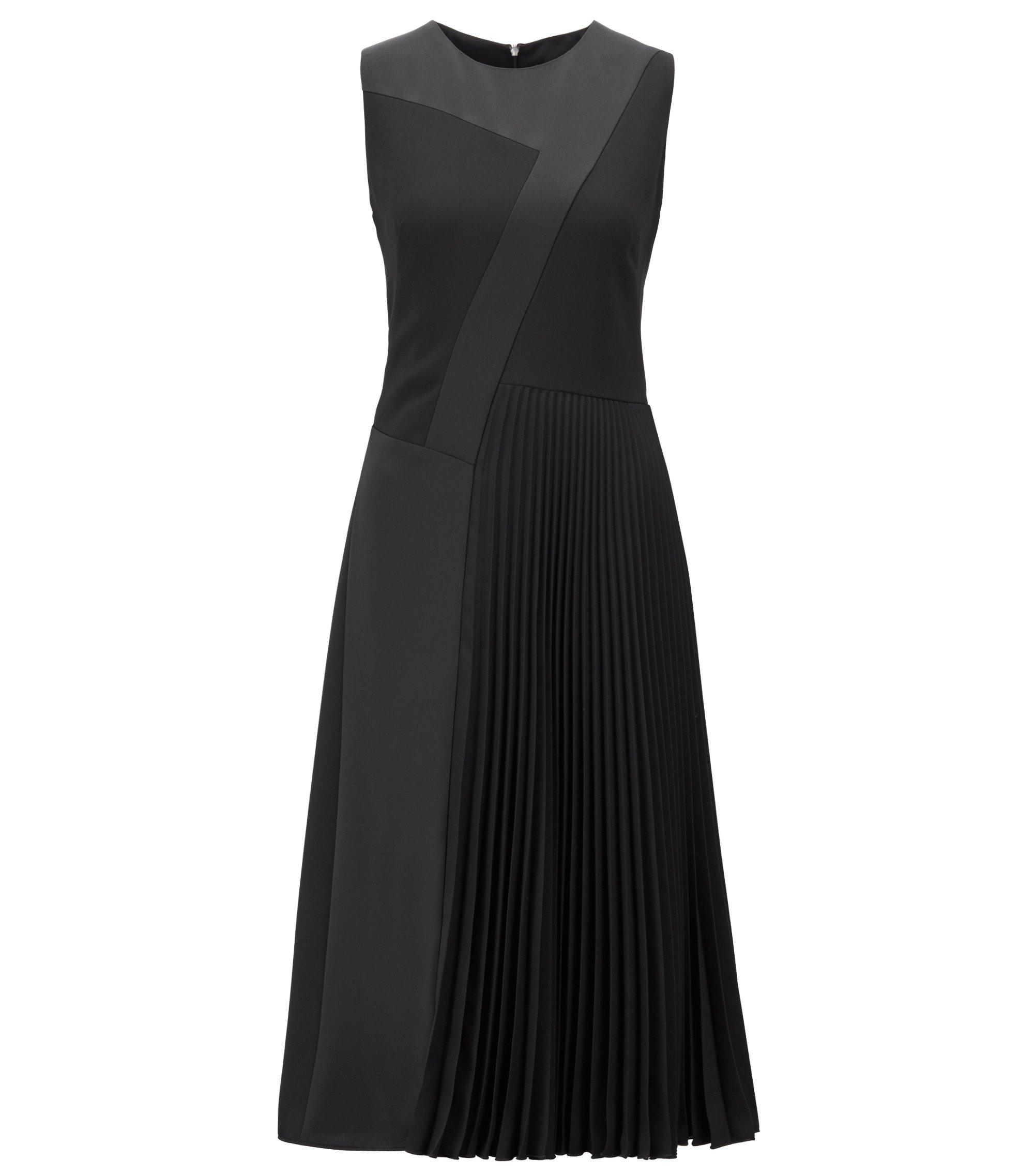 Midi-jurk in patchwork-crêpe met plissédetail in de rok, Zwart