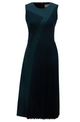 Patchwork midi dress in crepe with plissé skirt detail, Dark Green