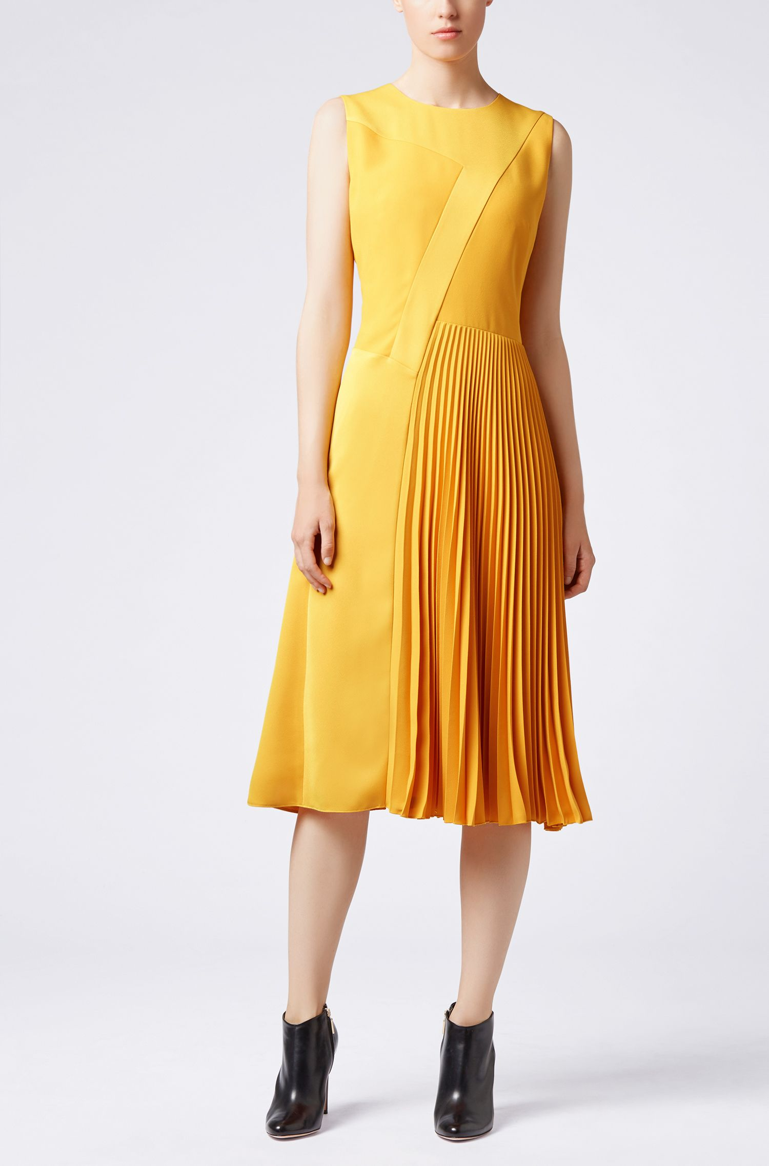 Midi-jurk in patchwork-crêpe met plissédetail in de rok, Geel
