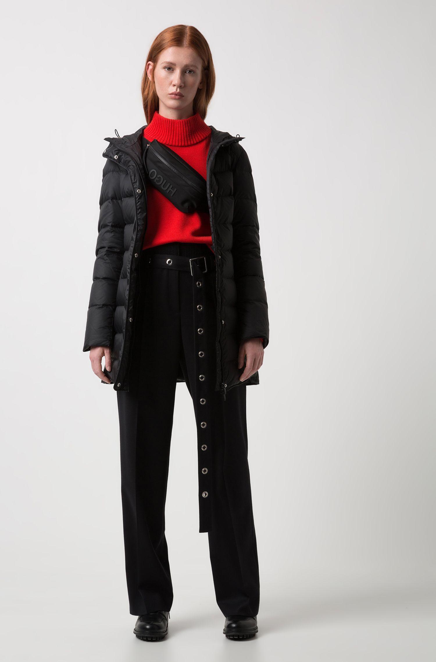 Manteau en duvet à capuche, en tissu imperméable sur le dessus, Noir