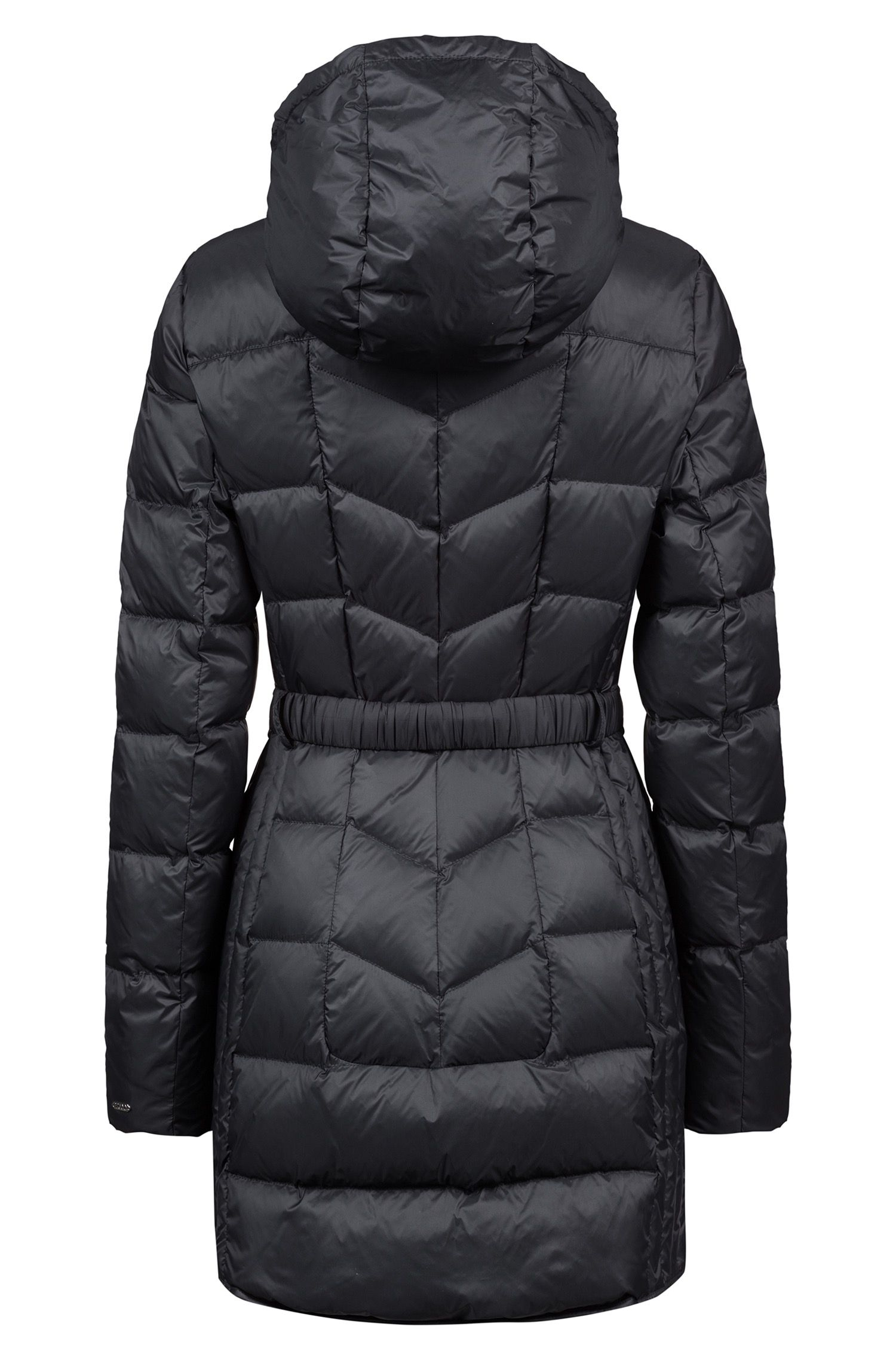 Mantel met donsvulling, waterafstotende buitenkant en capuchon, Zwart