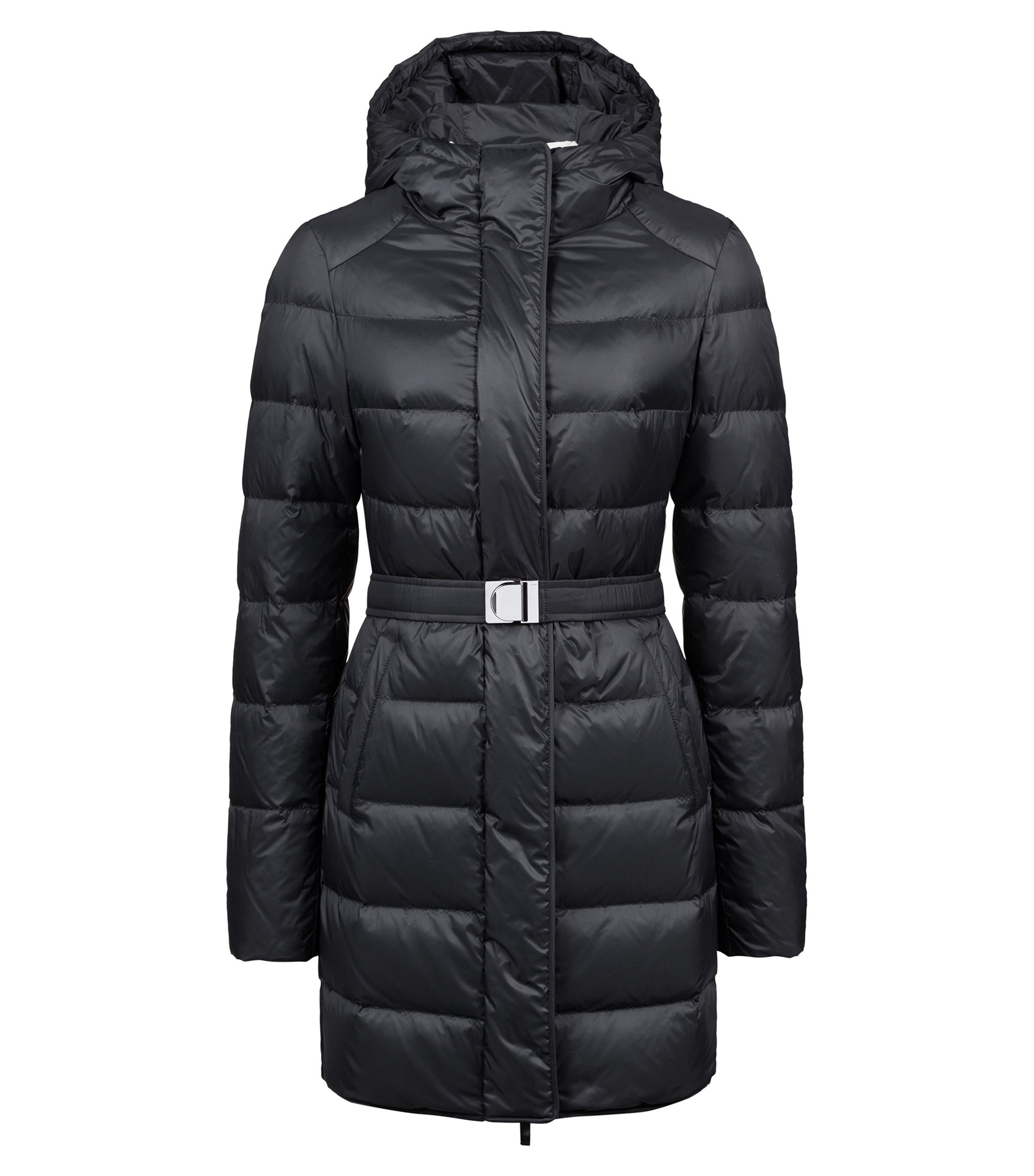 Down-filled coat with water-repellent outer and hood, Black