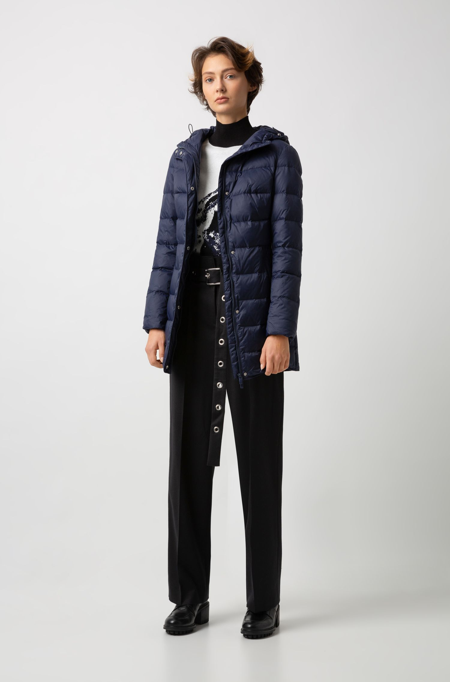 Down-filled coat with water-repellent outer and hood, Blue