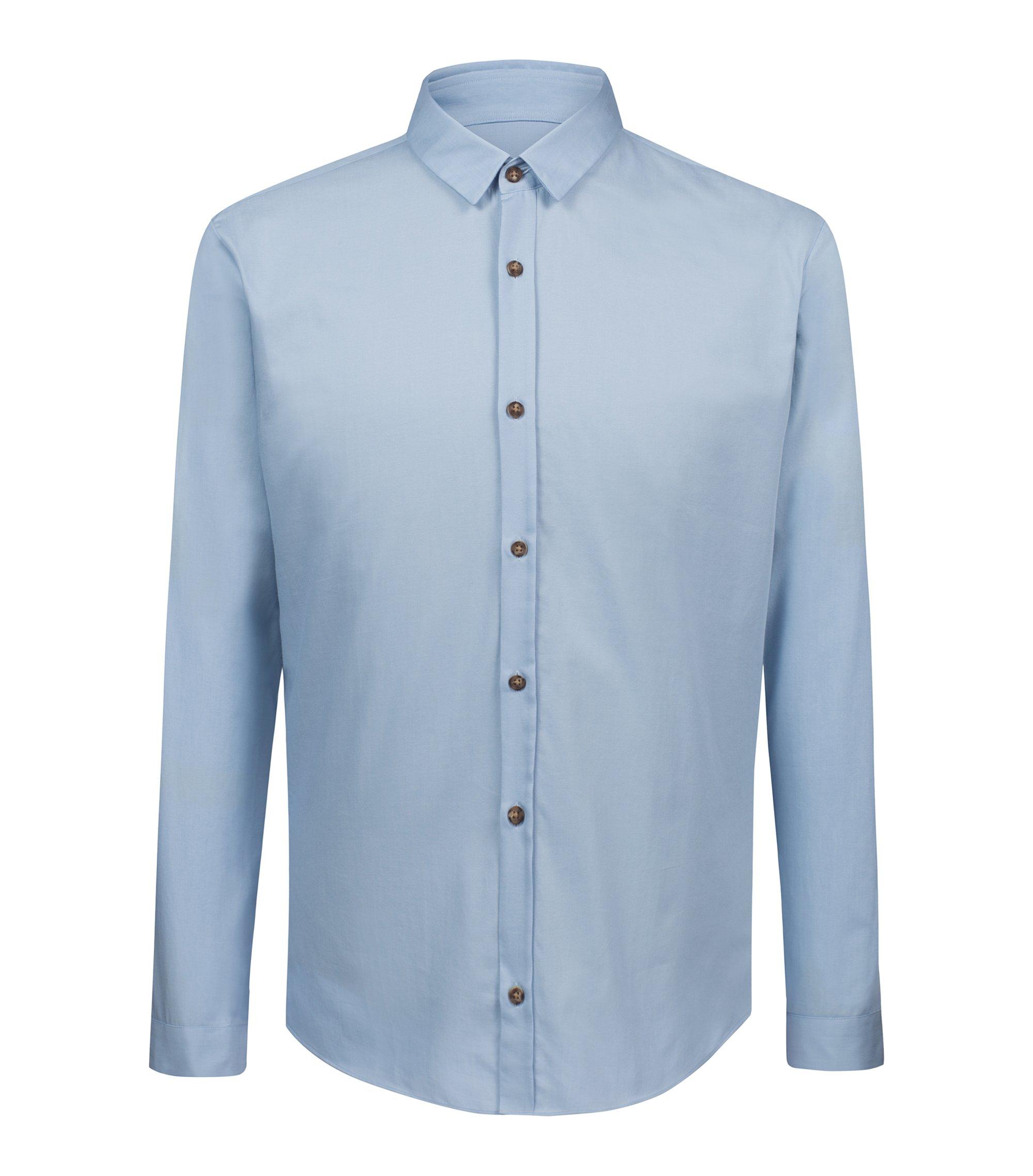 Camicia extra slim fit in cotone stile denim, Celeste
