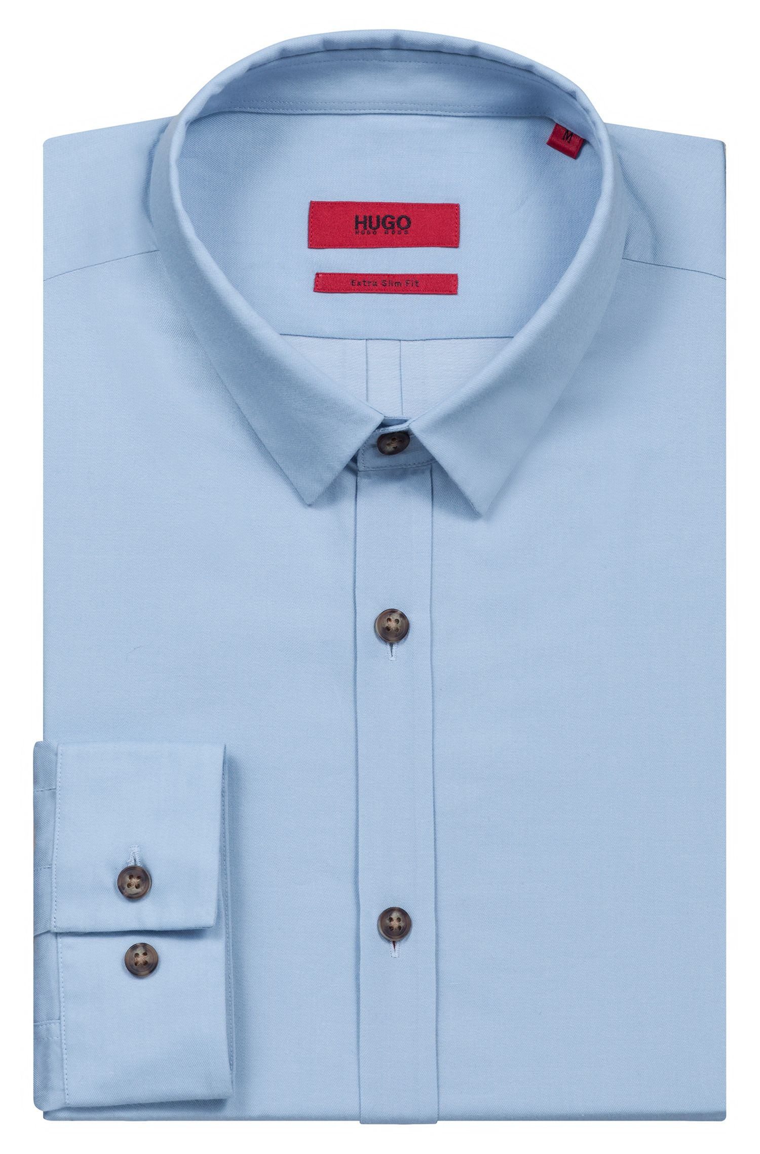 Extra-slim-fit denim-style shirt in cotton, Light Blue