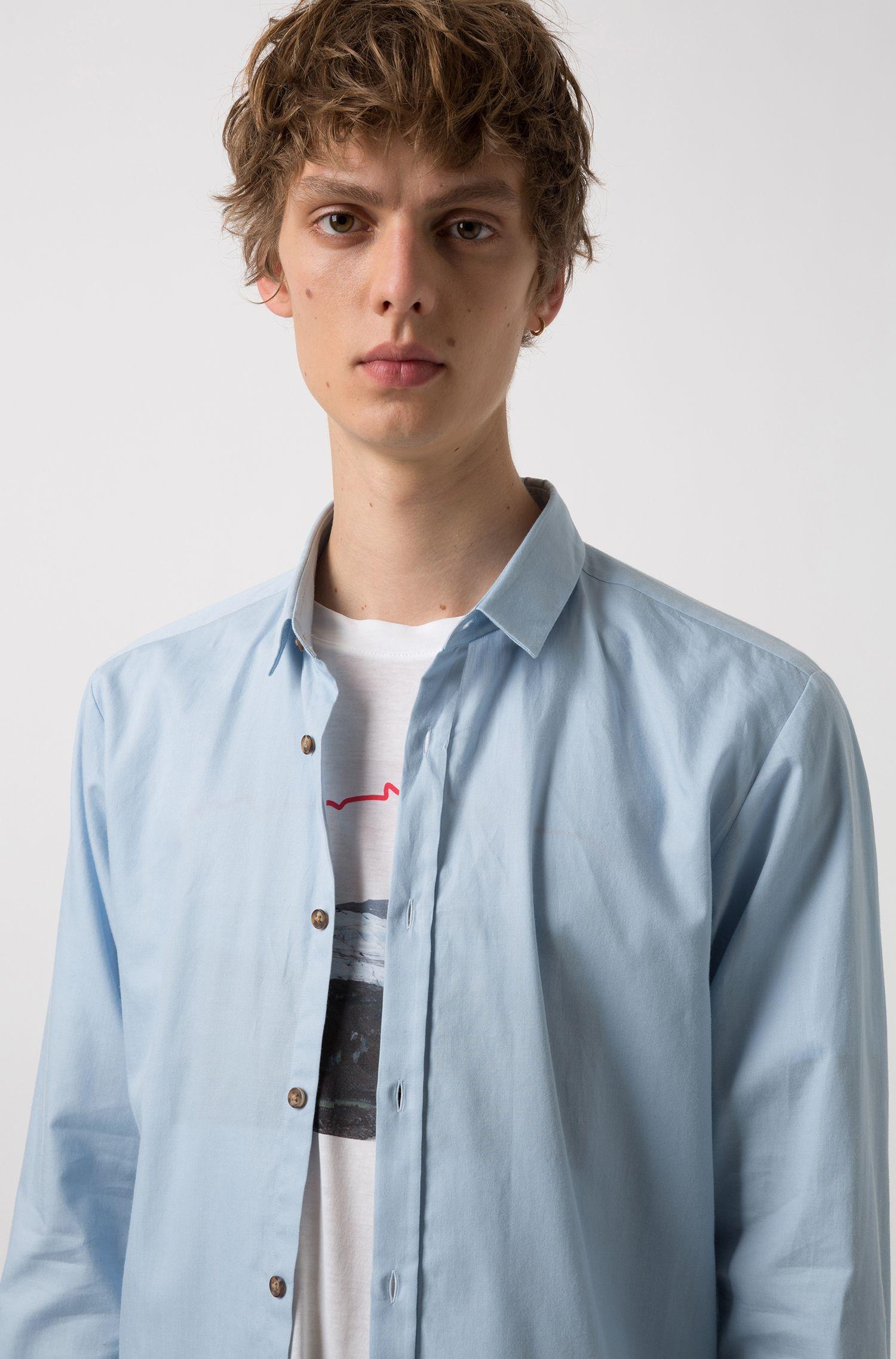 Extra slim-fit overhemd in denimstijl van katoen, Lichtblauw