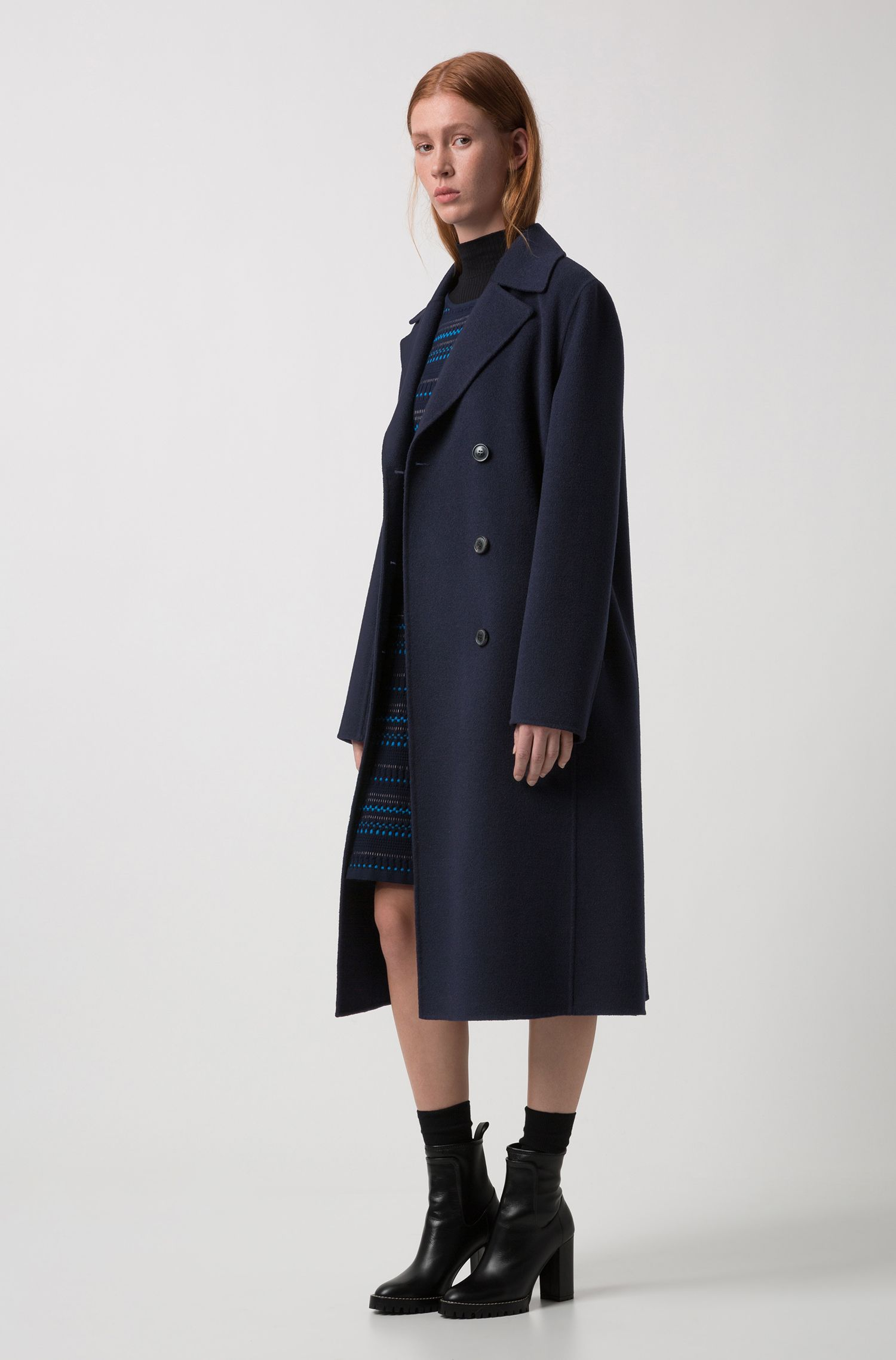 Double-breasted coat with notch lapels, Dark Blue