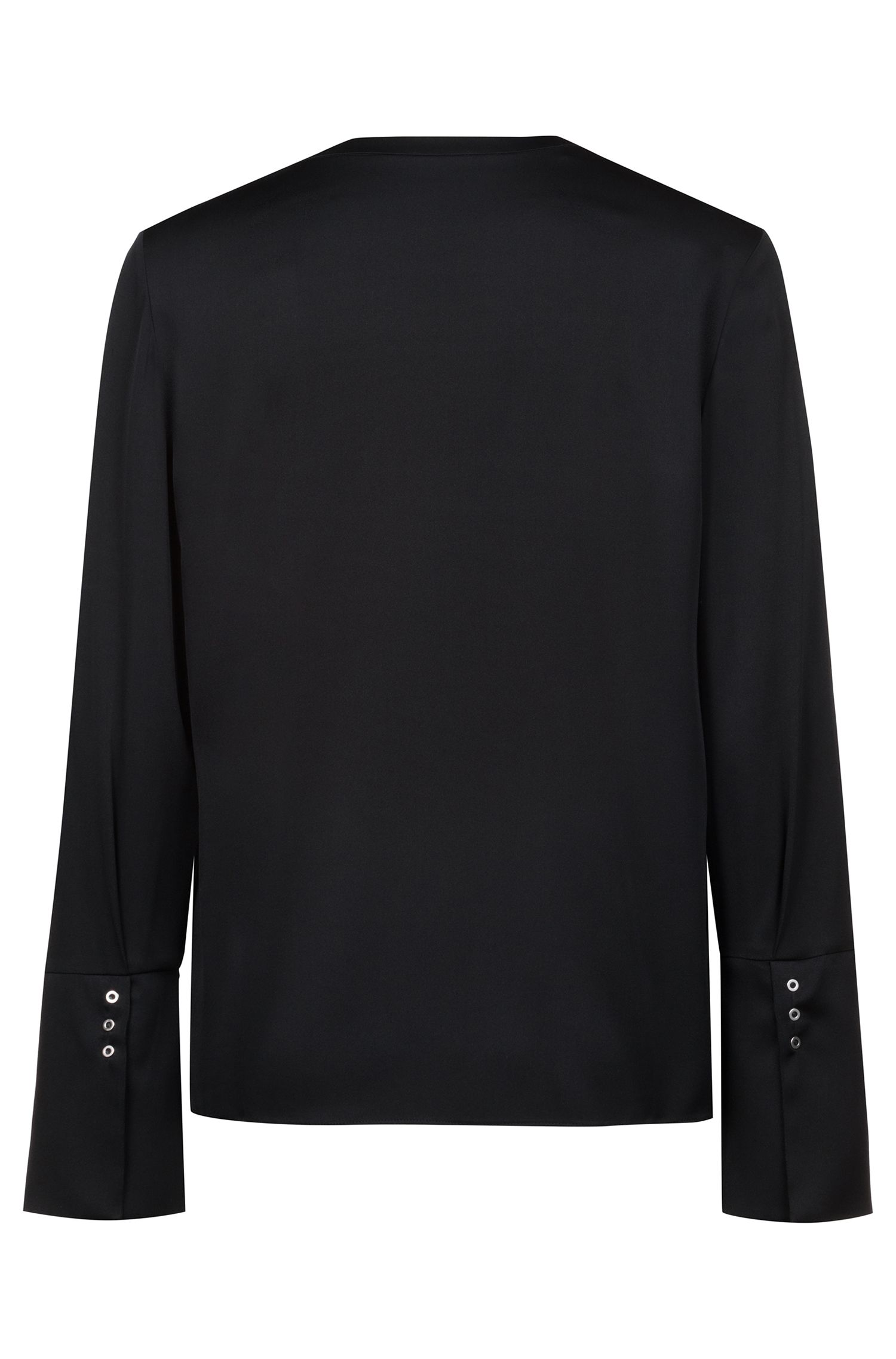 Long-sleeved top in stretch silk with zip neck, Black