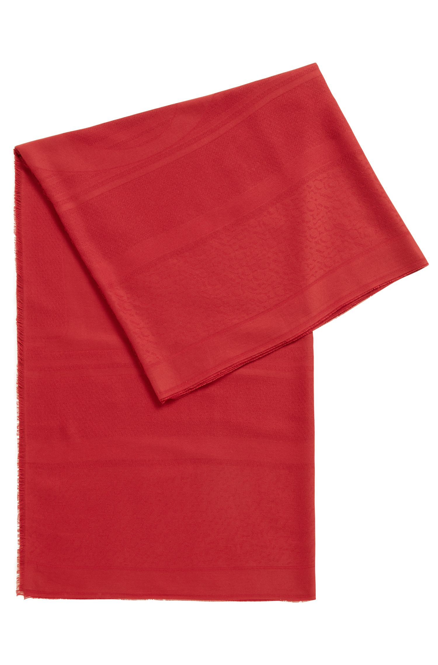 Fringed scarf in a cotton blend with jacquard logo, Dark Red