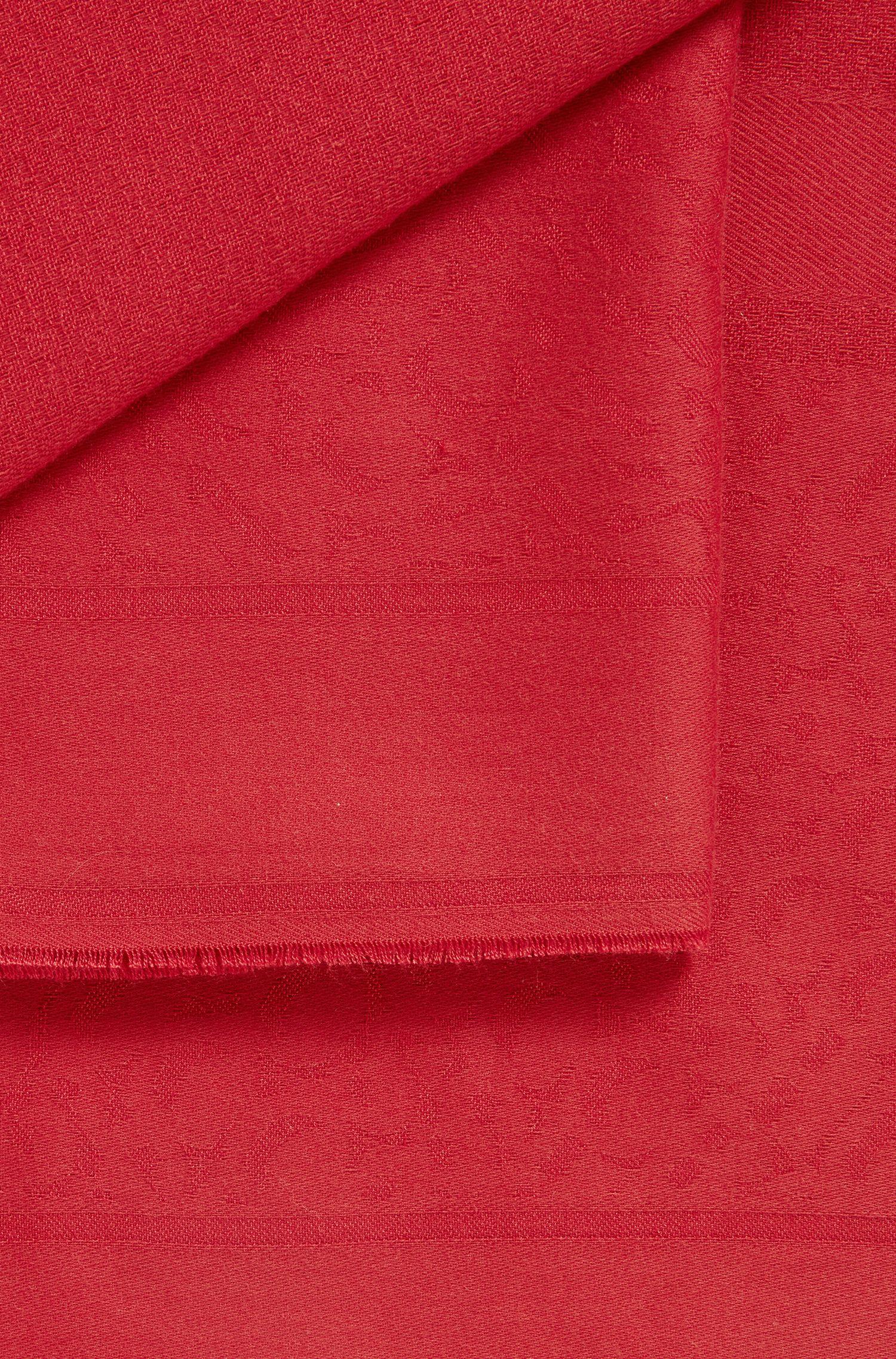 Écharpe à franges en coton mélangé à logo jacquard, Rouge sombre