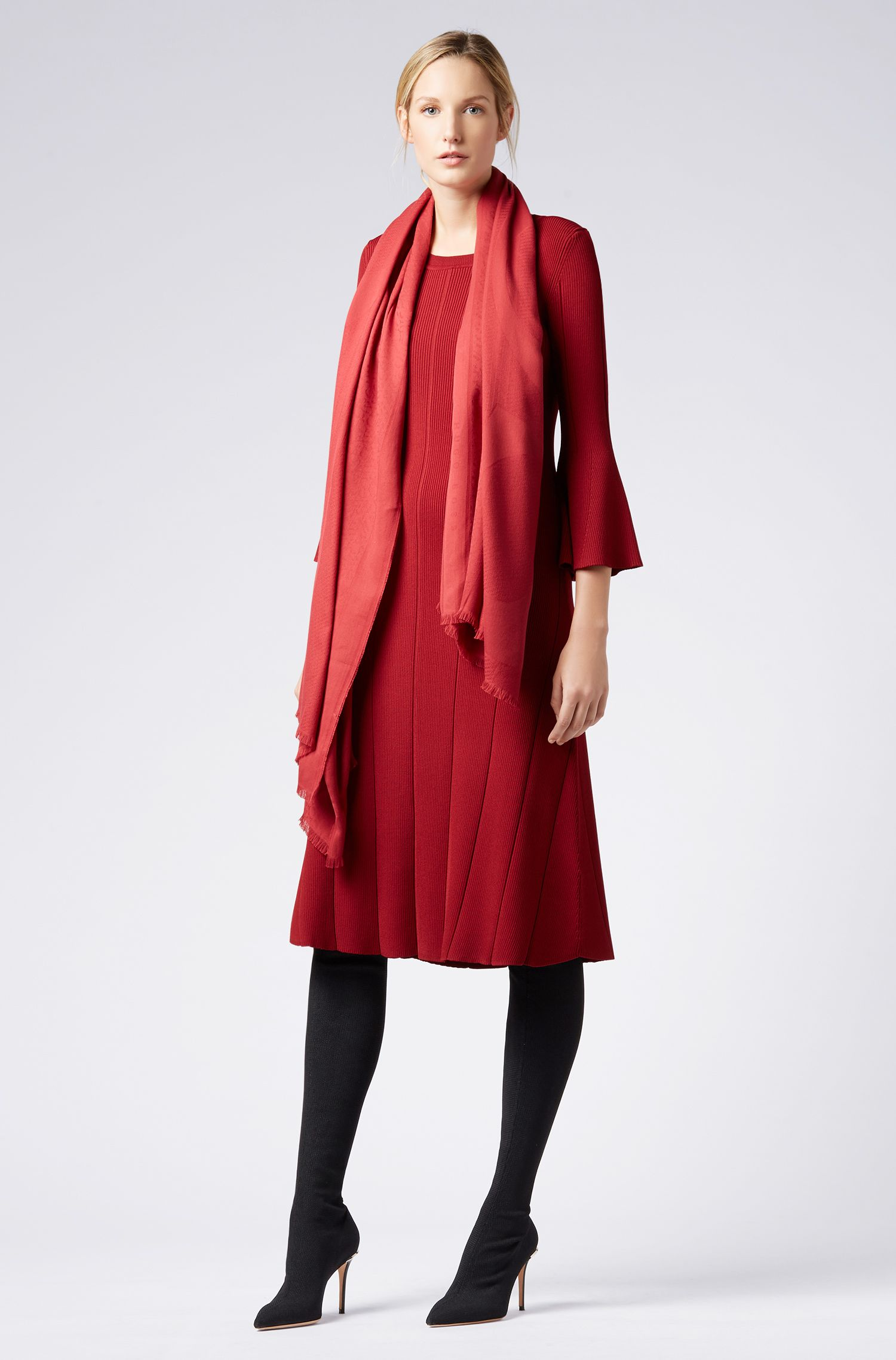 Bufanda con flecos en mezcla de algodón con logo en jacquard, Rojo oscuro