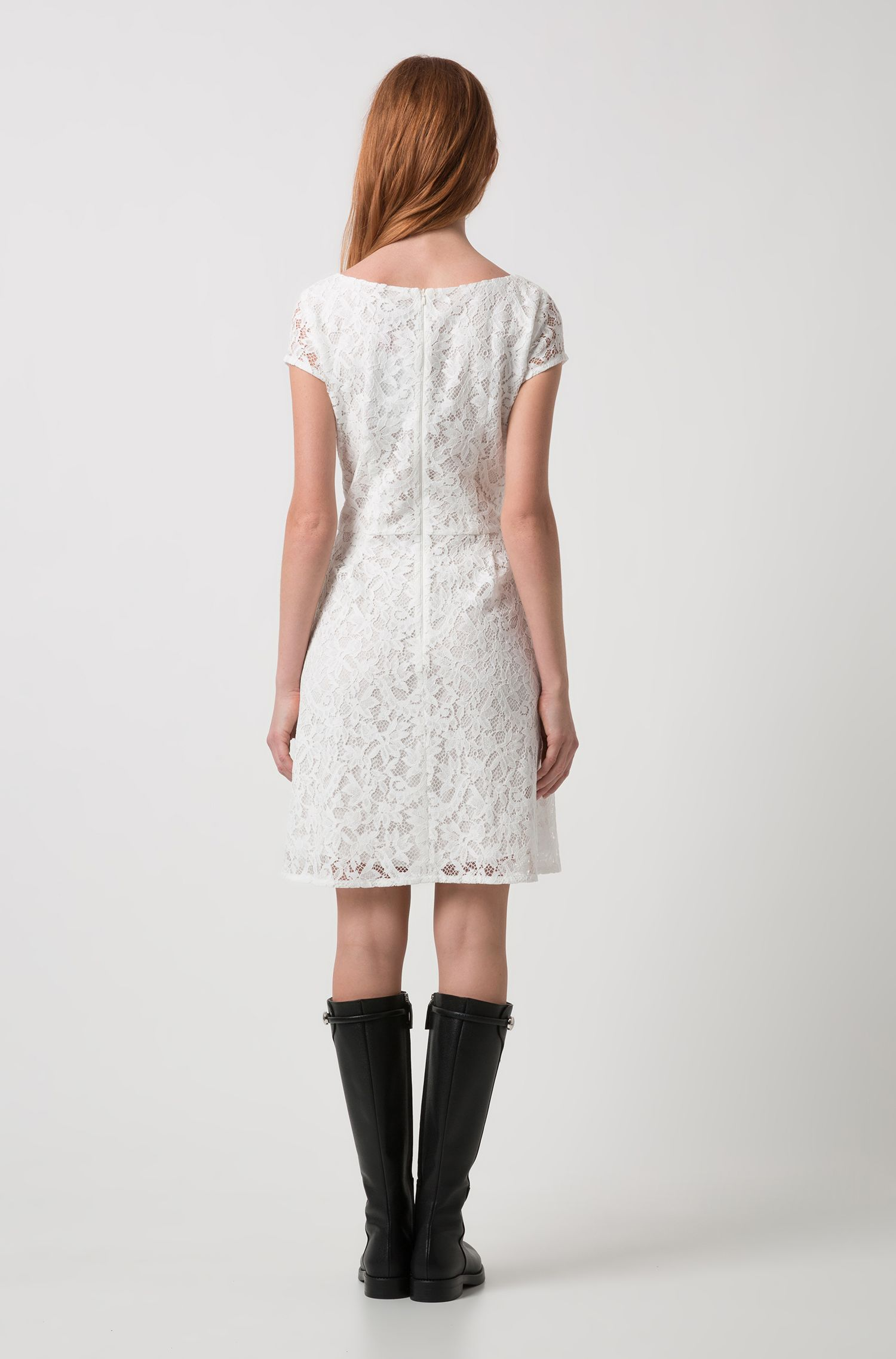 Scoop-neck A-line dress in floral lace, Natural