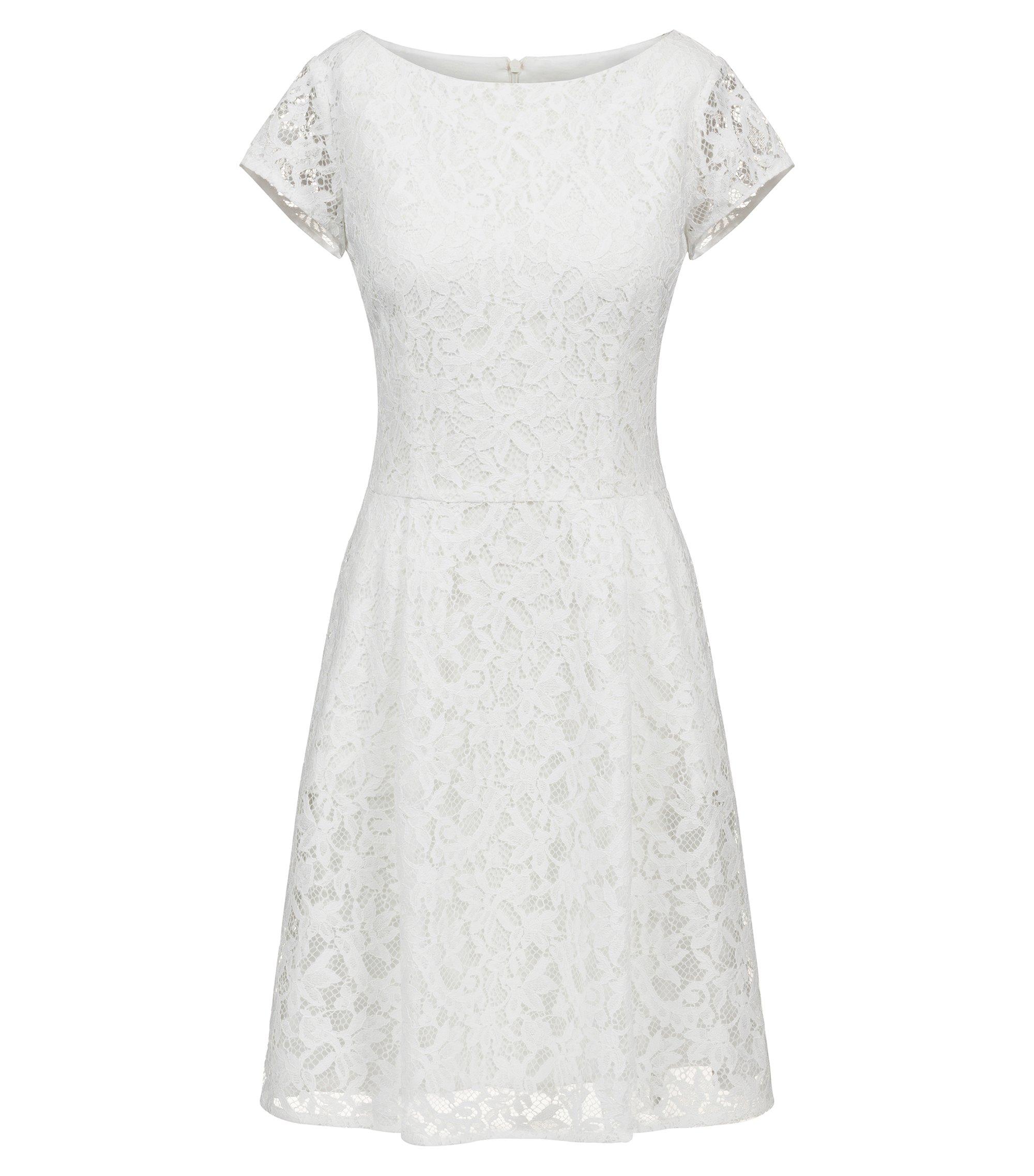A-Linien-Kleid aus Blumenspitze mit U-Ausschnitt, Natur