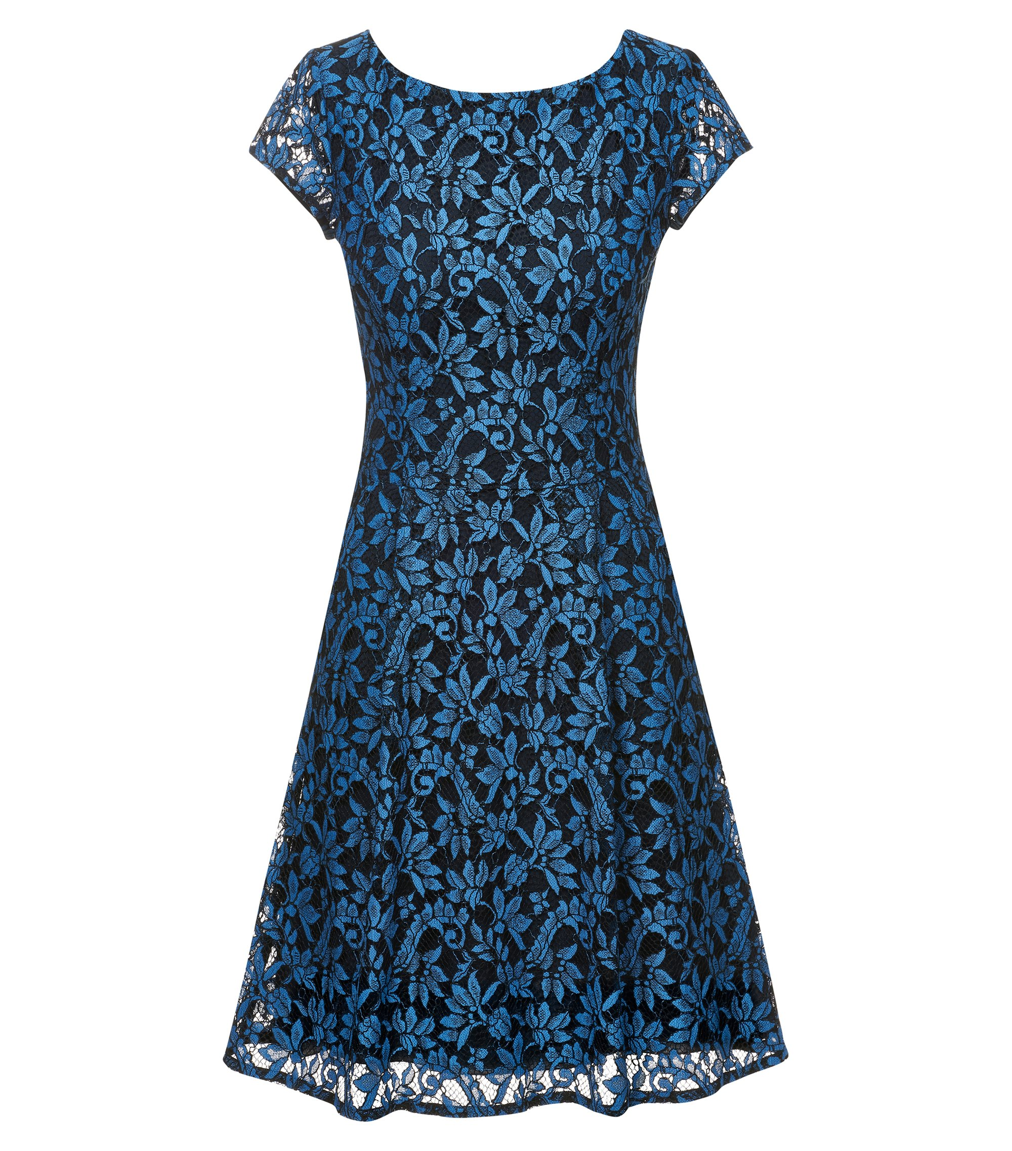Scoop-neck A-line dress in floral lace, Blue