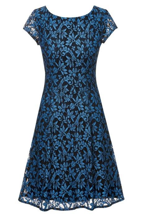 A-Linien-Kleid aus Blumenspitze mit U-Ausschnitt, Blau