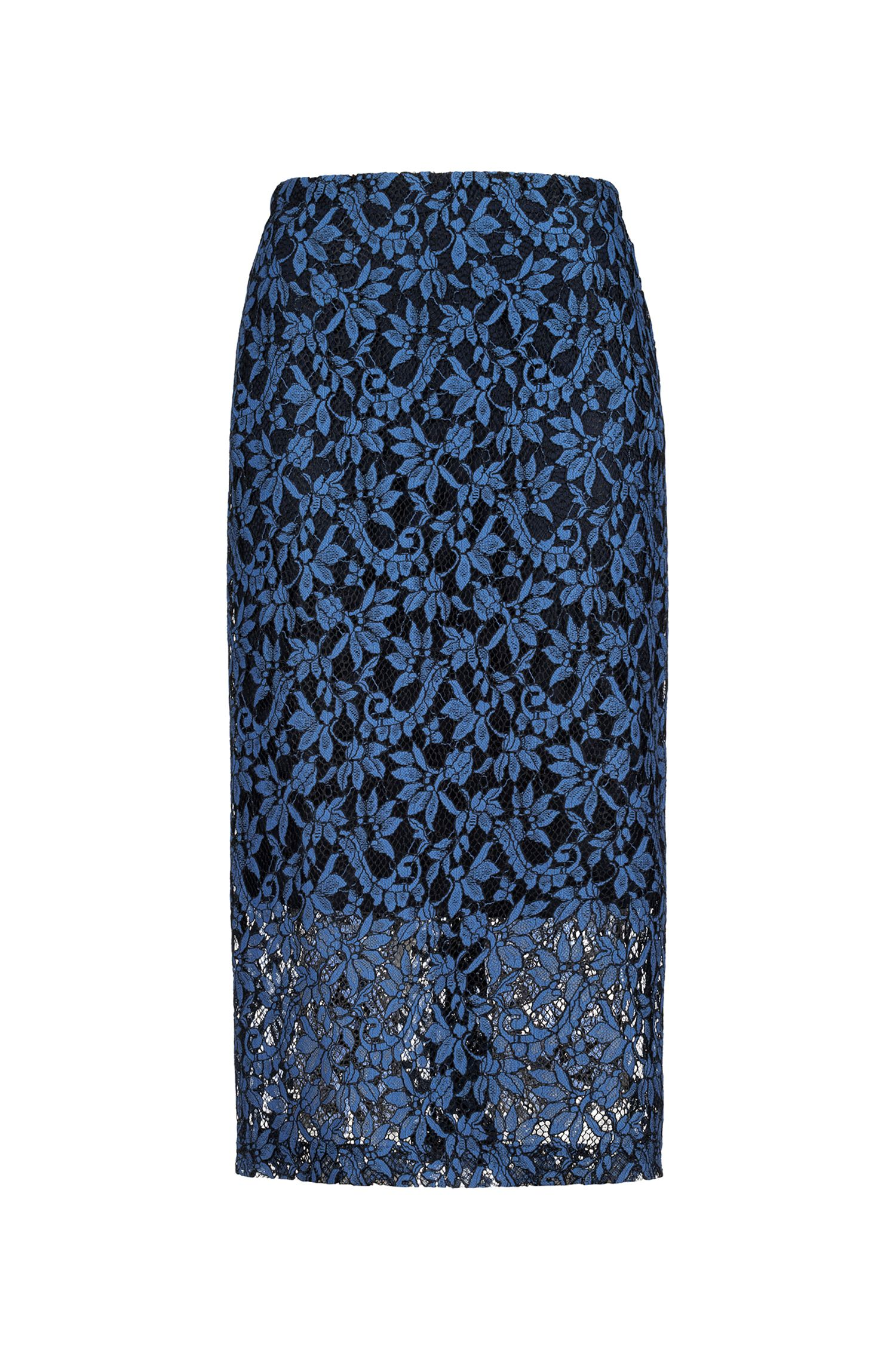 Slim-fit pencil skirt in two-tone lace, Blue