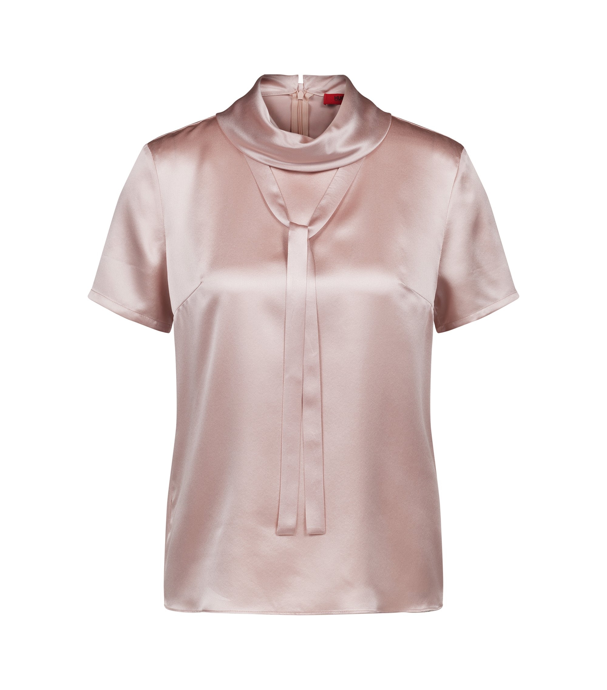 Roll-neck top in stretch silk with bow detail, light pink