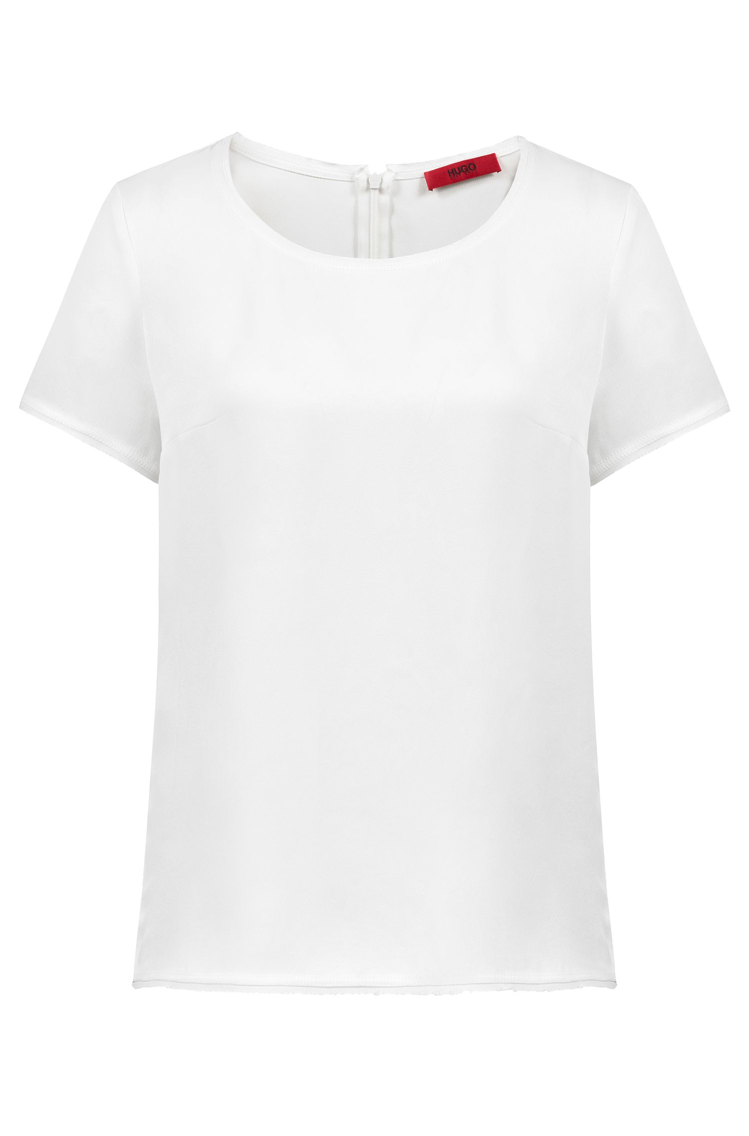Short-sleeved top in a lustrous fabric