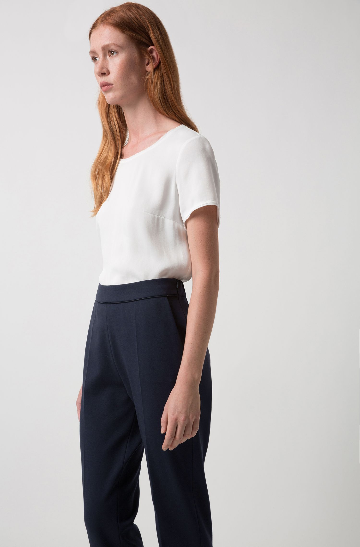 Short-sleeved top in a lustrous fabric, Natural
