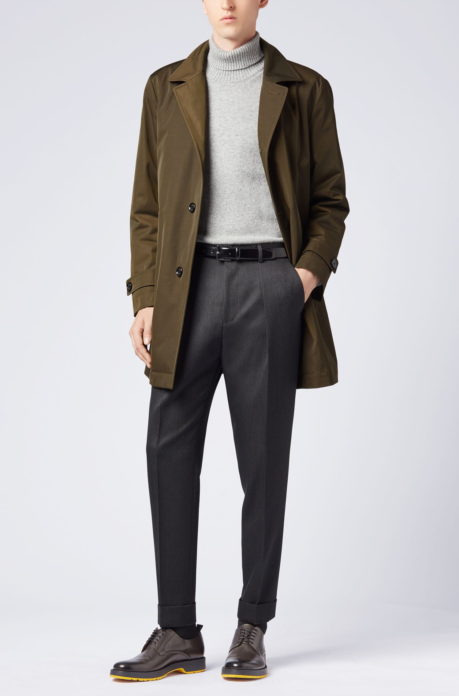 Relaxed-fit cropped trousers in virgin-wool twill, Dark Grey