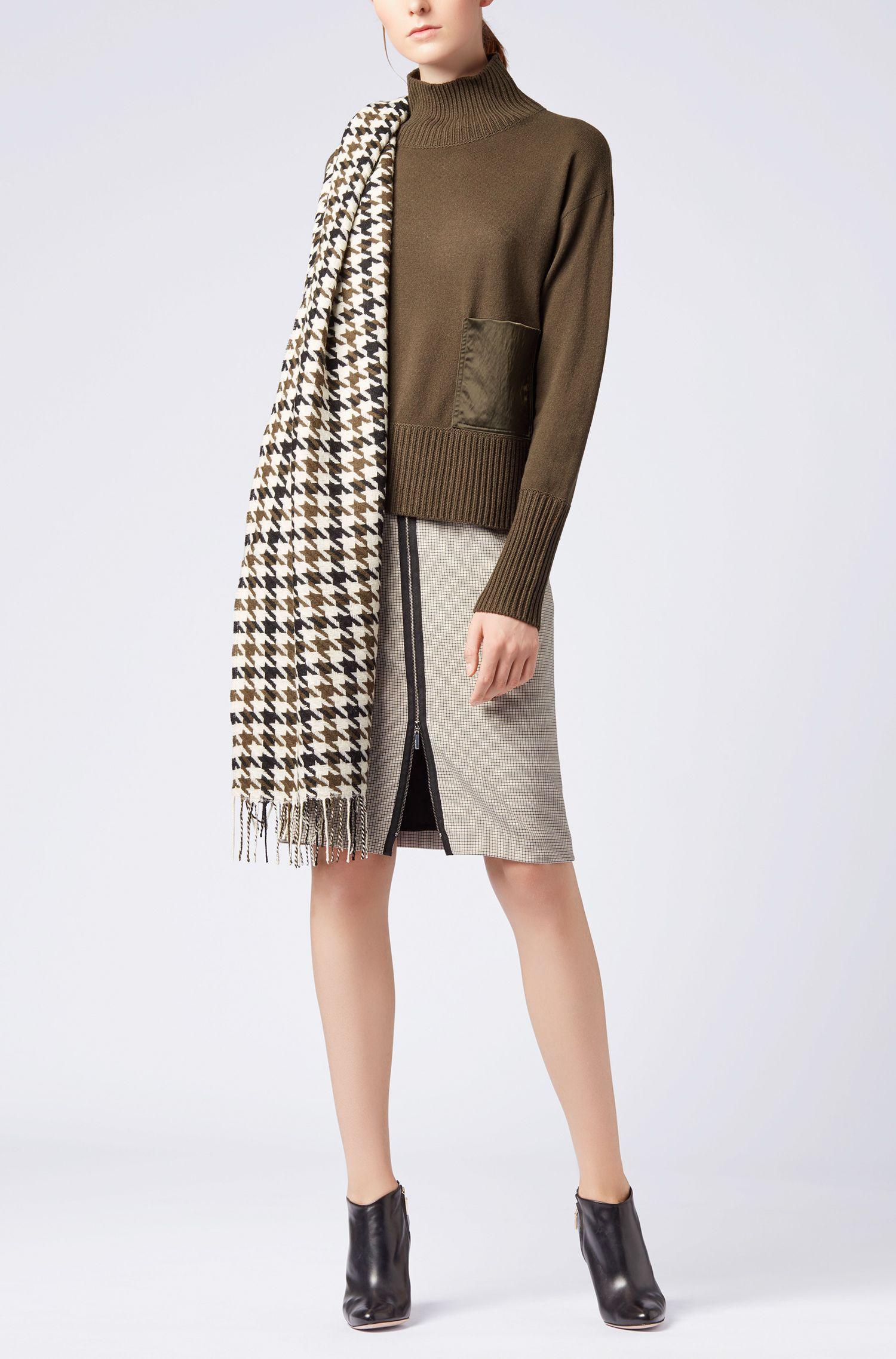 Driekleurige sjaal van scheerwol met pied-de-poule-ruitdessin