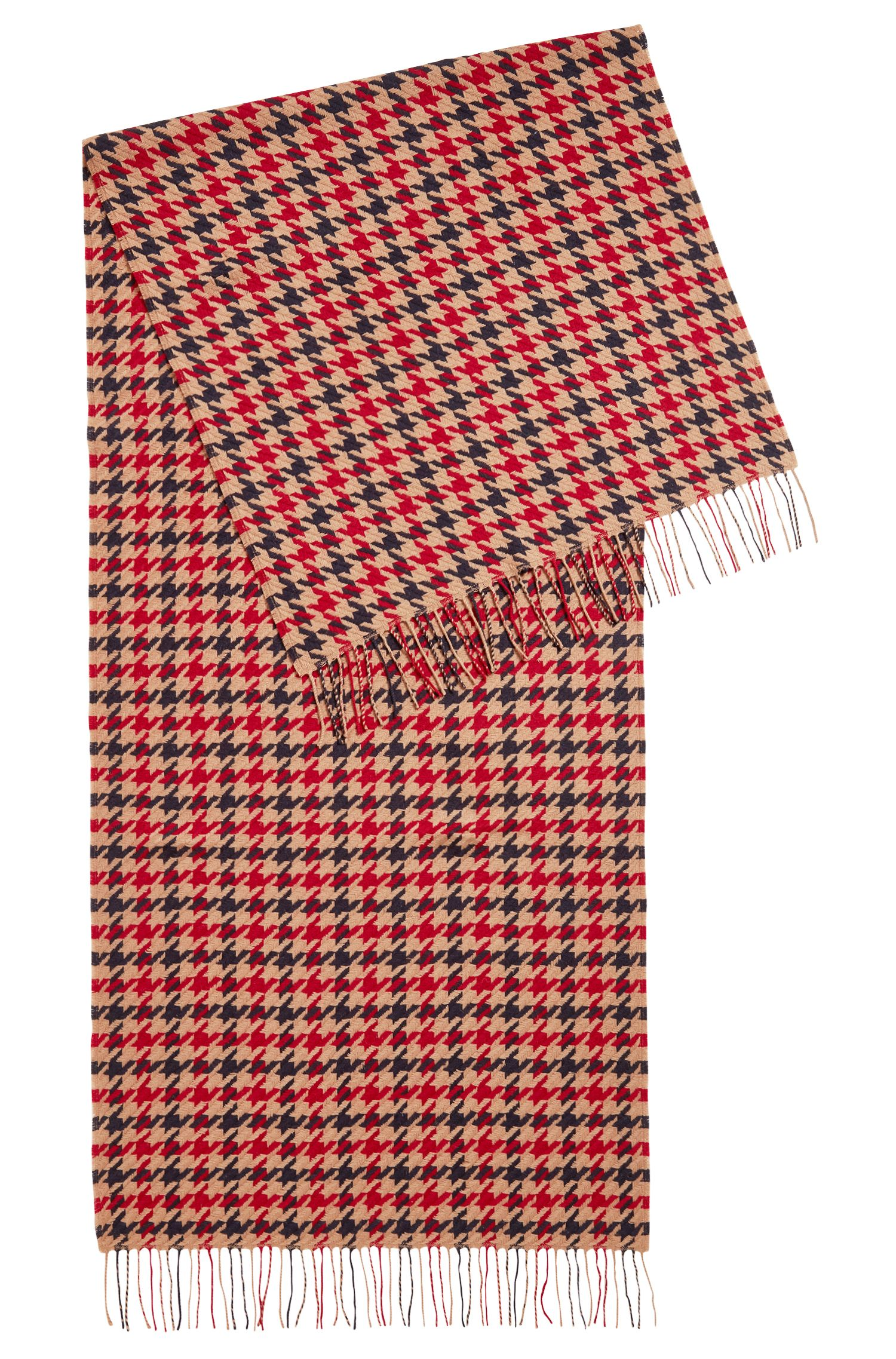 Three-colour scarf in virgin wool with houndstooth check, Patterned