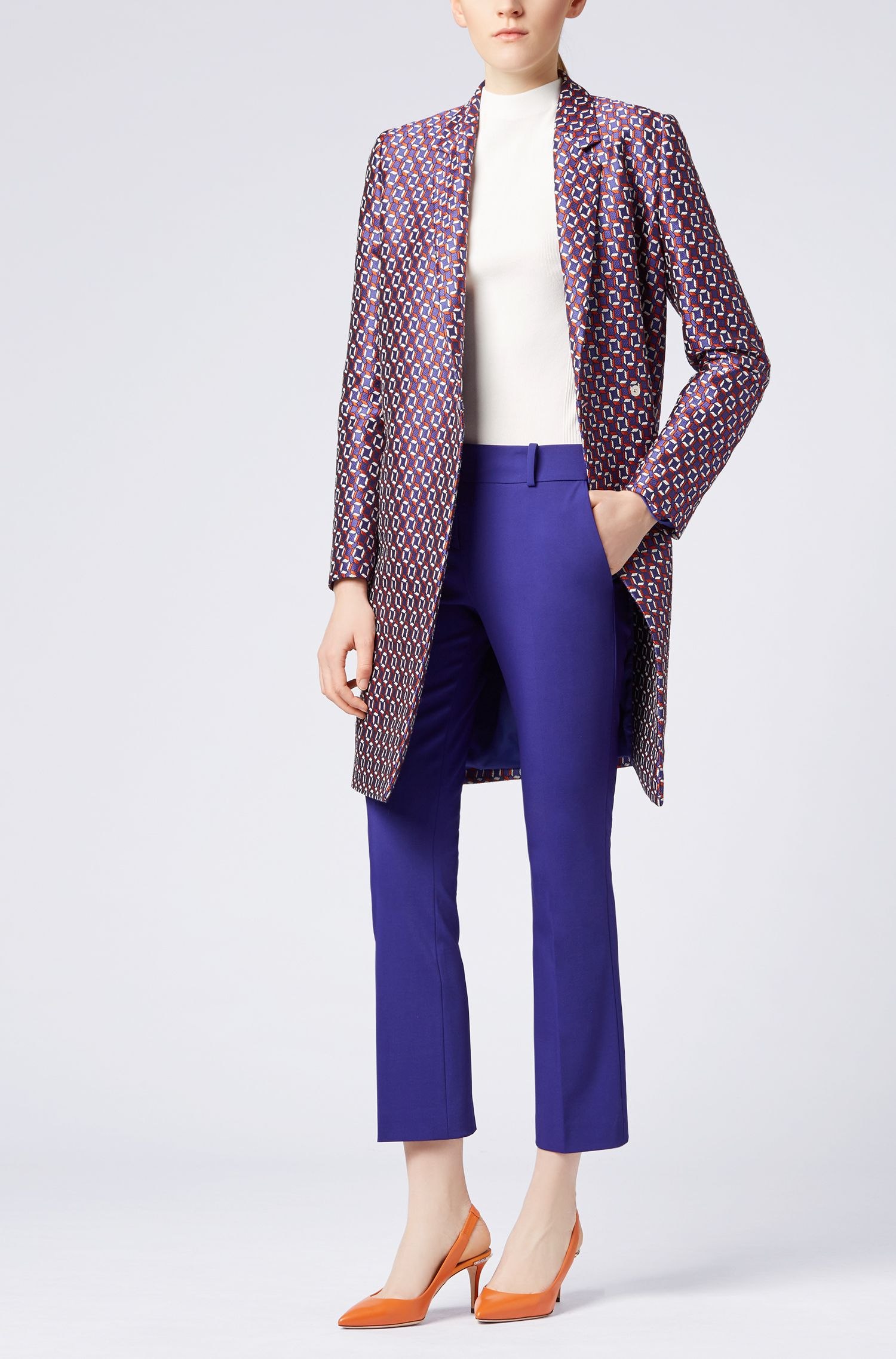 Cropped trousers in a stretch virgin-wool blend