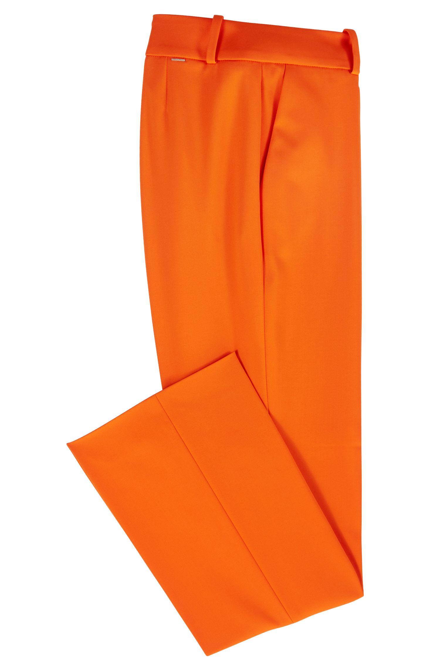 Regular-Fit Hose aus elastischem Schurwoll-Mix in Cropped-Länge, Orange