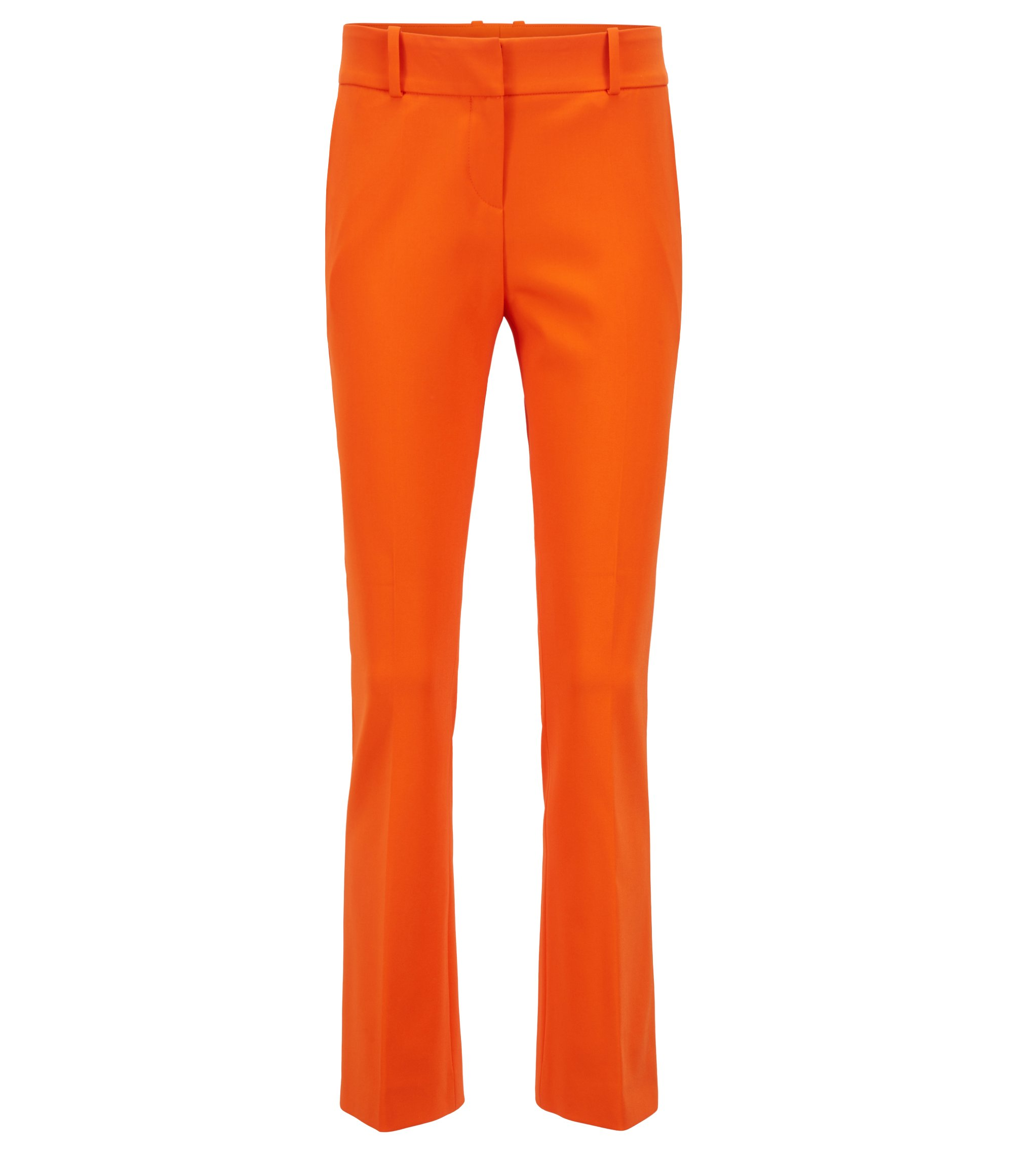 Regular-Fit Hose aus elastischem Schurwoll-Mix in Cropped-Länge, Orange