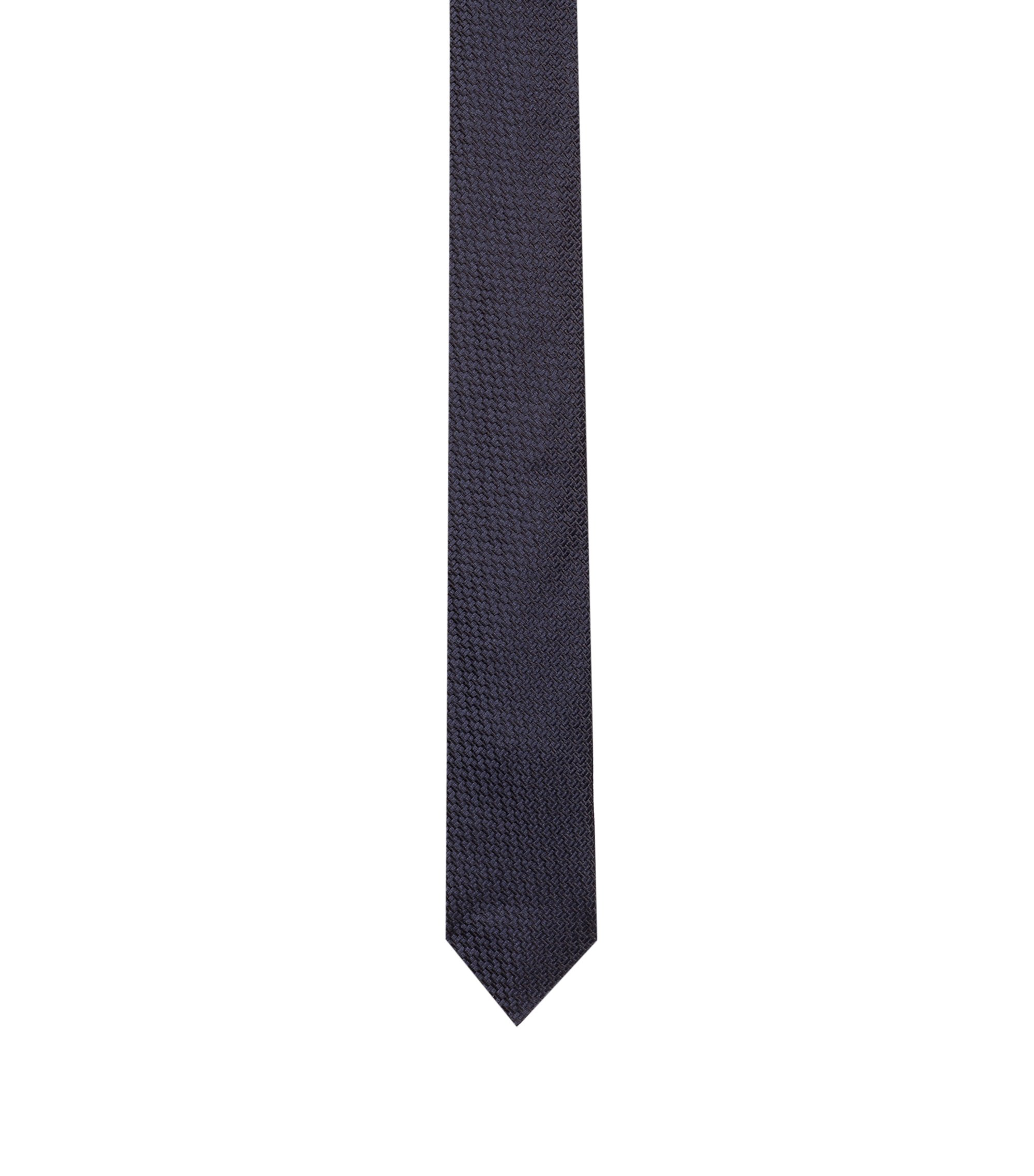 Silk tie with woven texture, Dark Blue