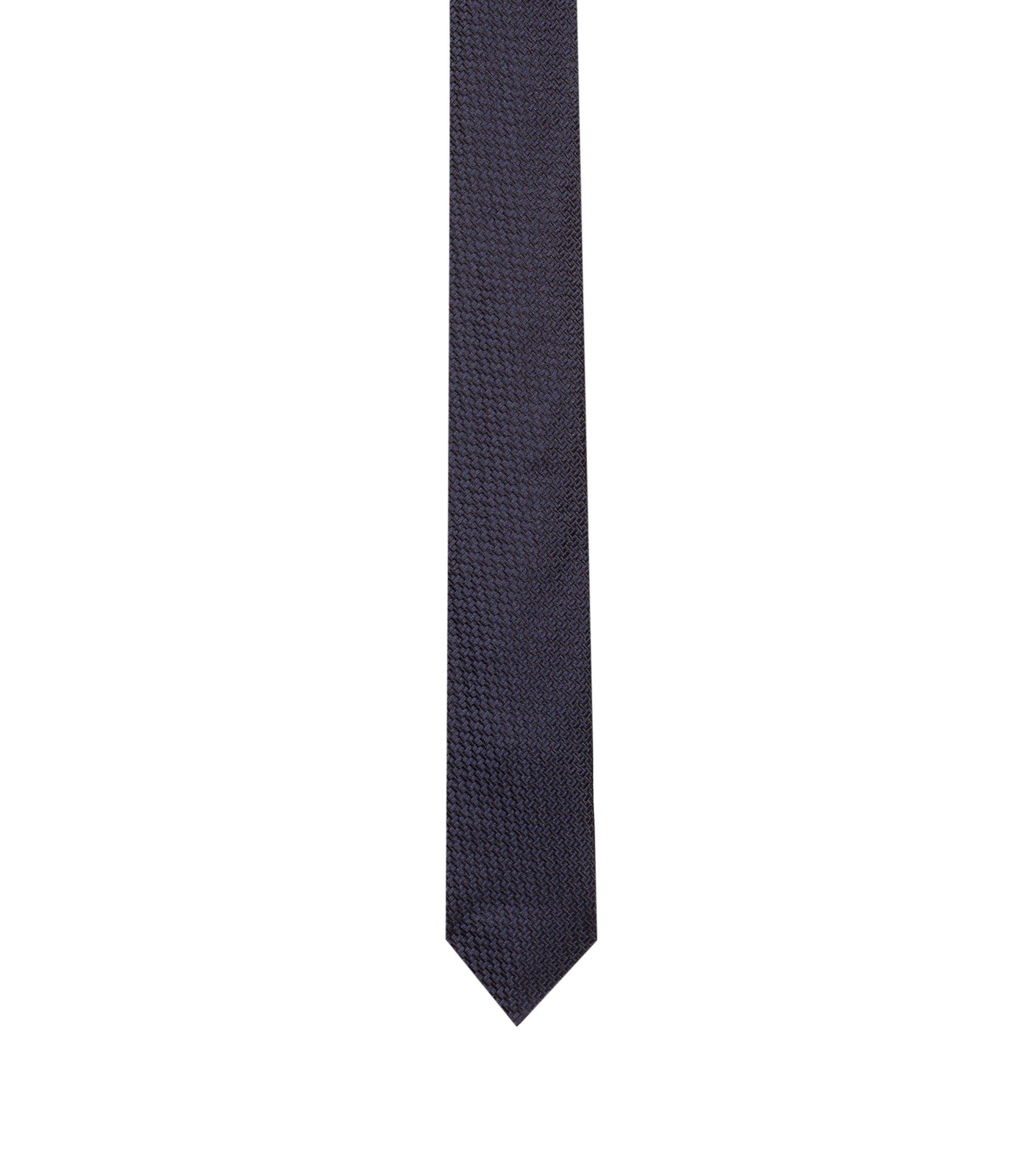 Krawatte aus Seide mit Webstruktur, Dunkelblau