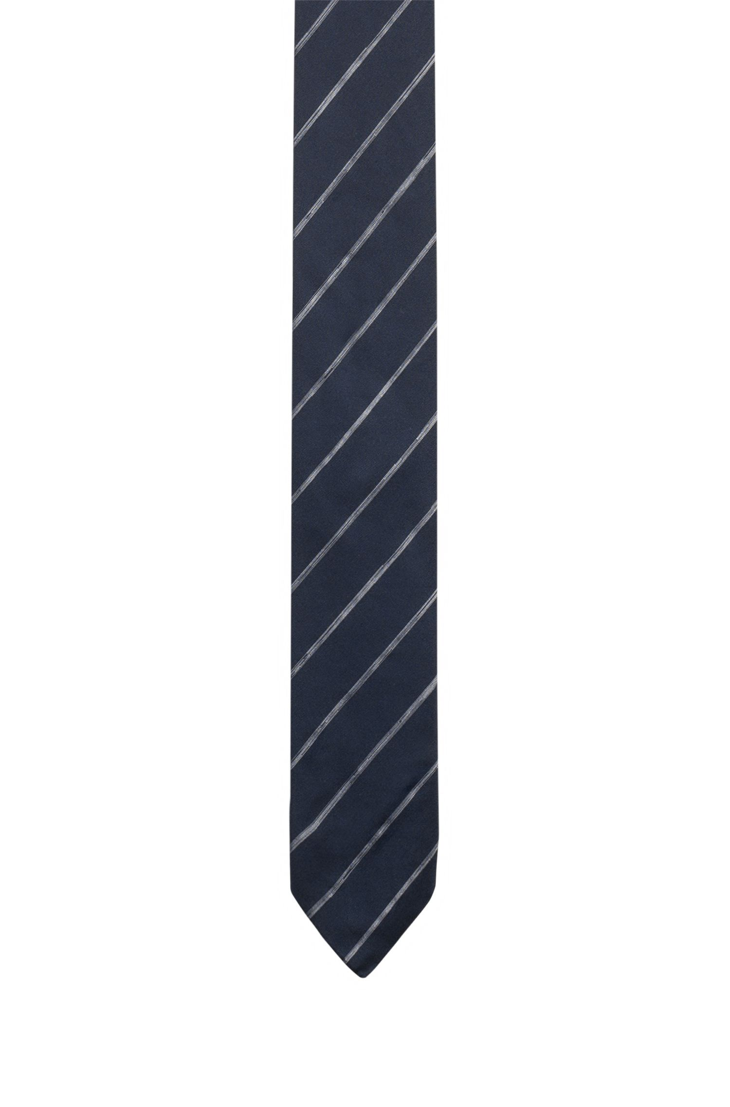 Cravate en jacquard de soie à rayures en diagonale délavées, Bleu foncé