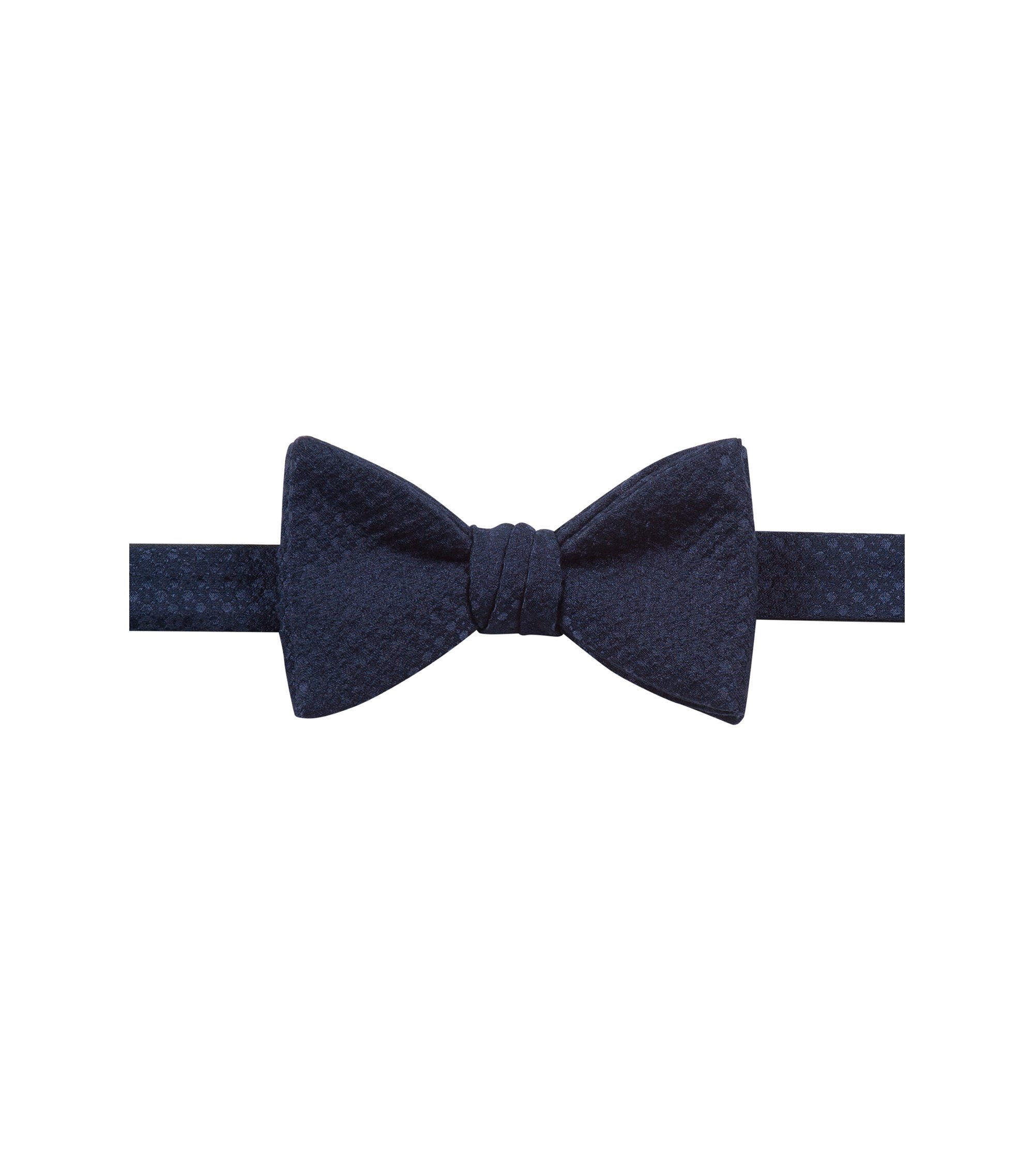 Pre-tied bow tie in raised jacquard, Dark Blue