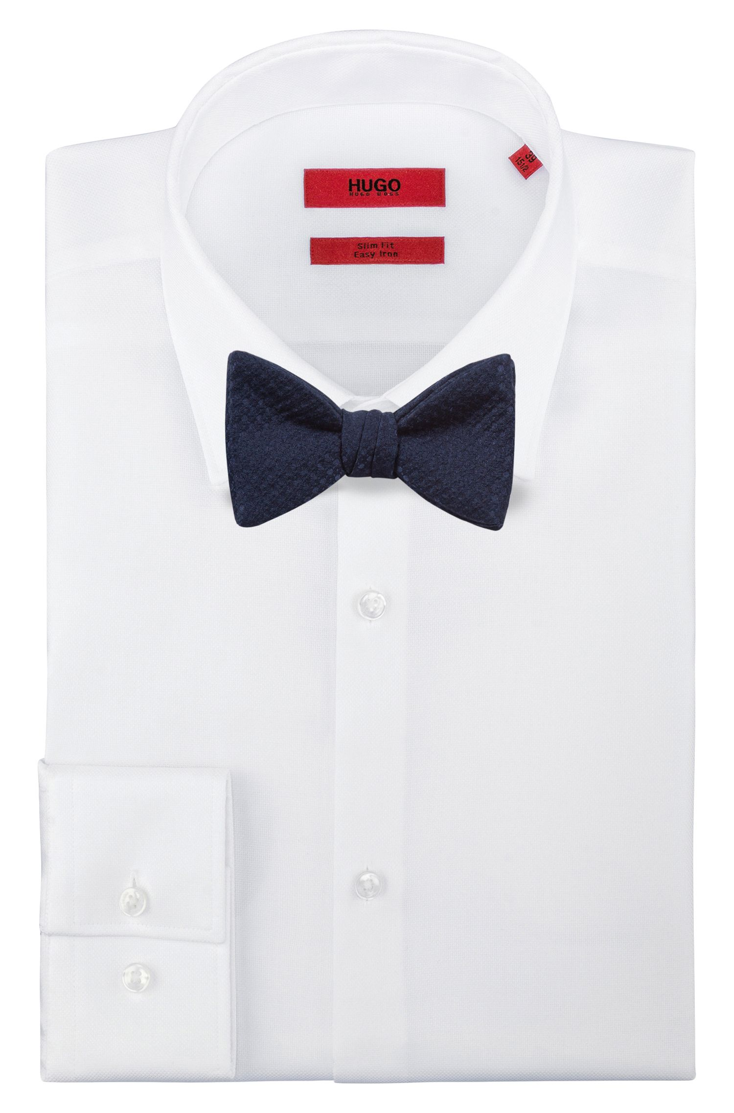 Pre-tied bow tie in raised jacquard, Dark Blue