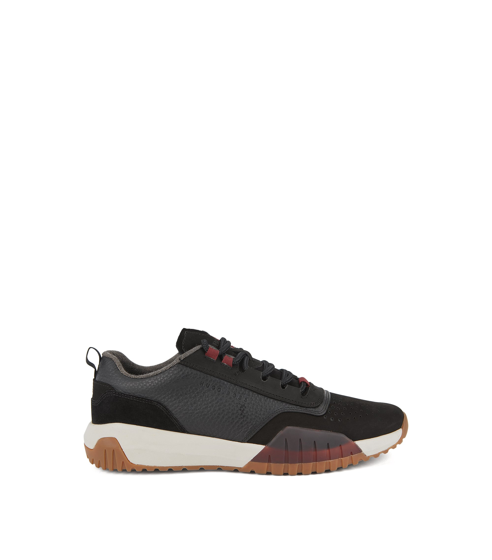 Running-inspired trainers in nubuck, tumbled and suede leather, Black
