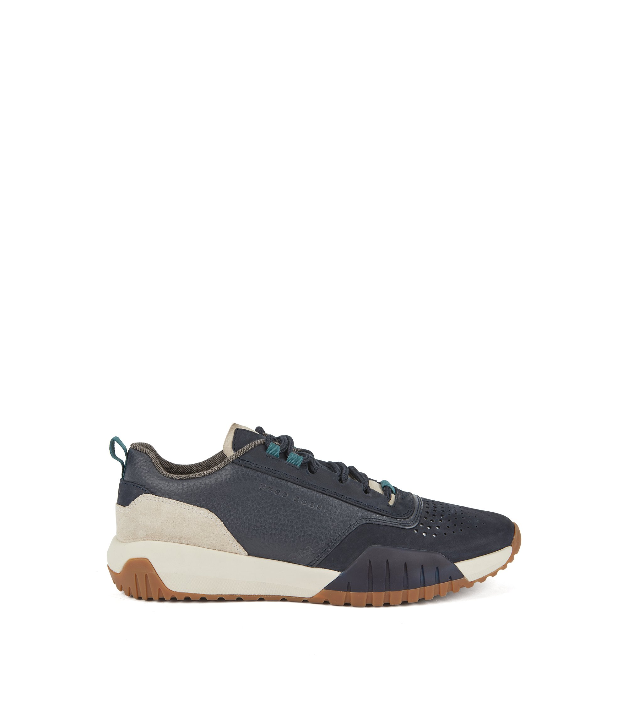 Running-inspired trainers in nubuck, tumbled and suede leather, Dark Blue