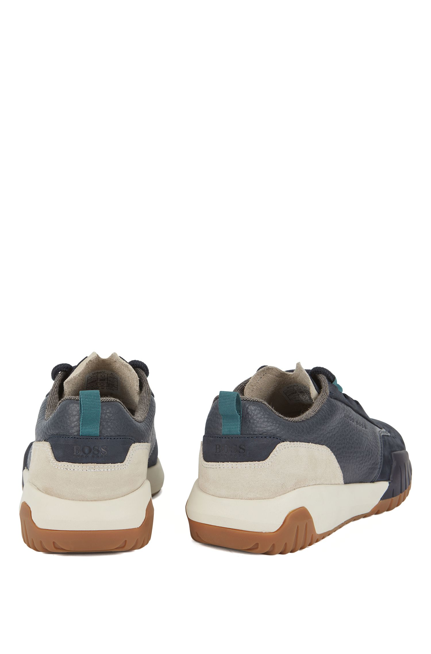 Baskets inspirées des chaussures de course, en nubuck, cuir foulonné et daim, Bleu foncé