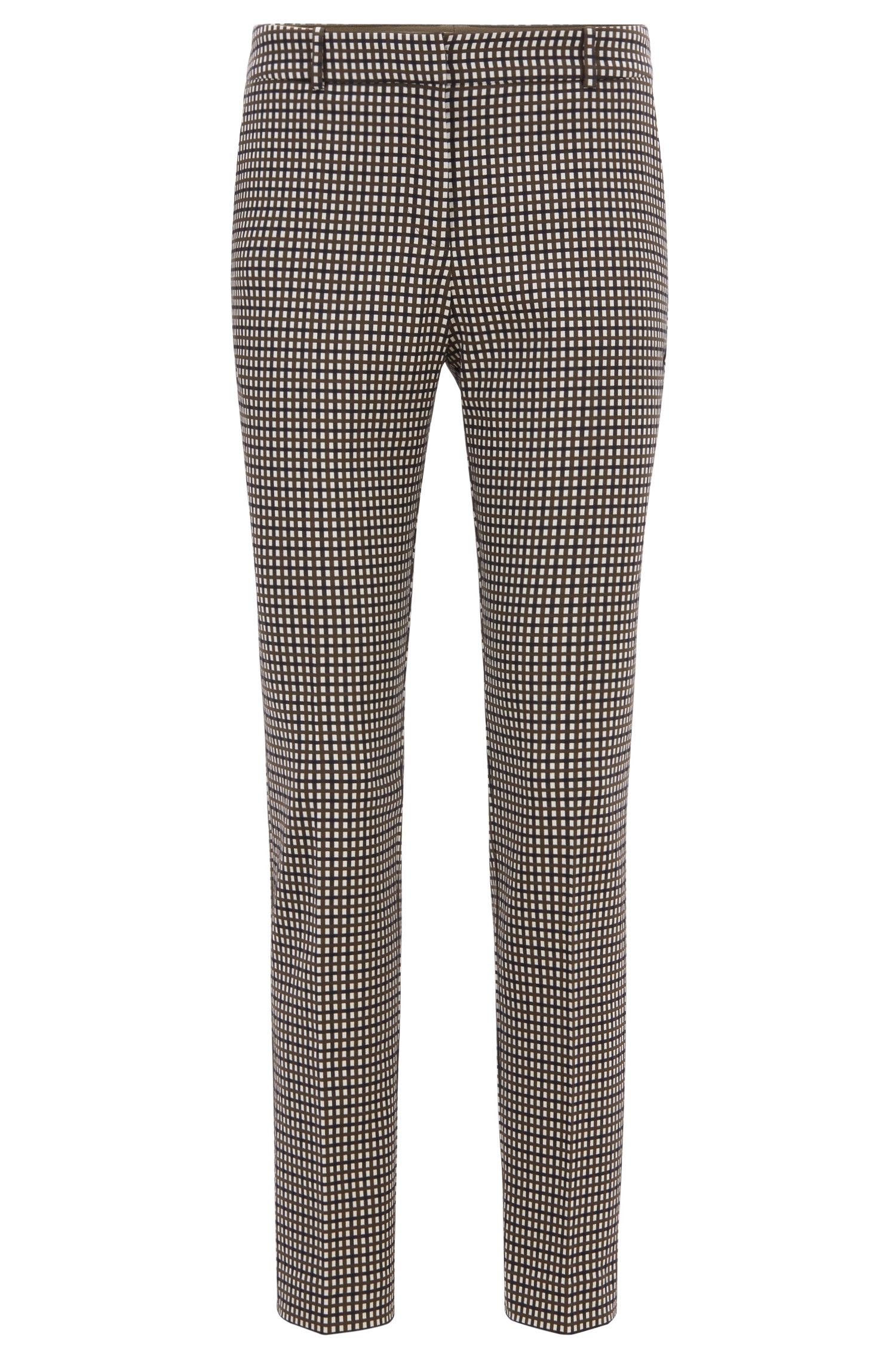 Micro-checked cropped trousers in a stretch-cotton blend, Patterned