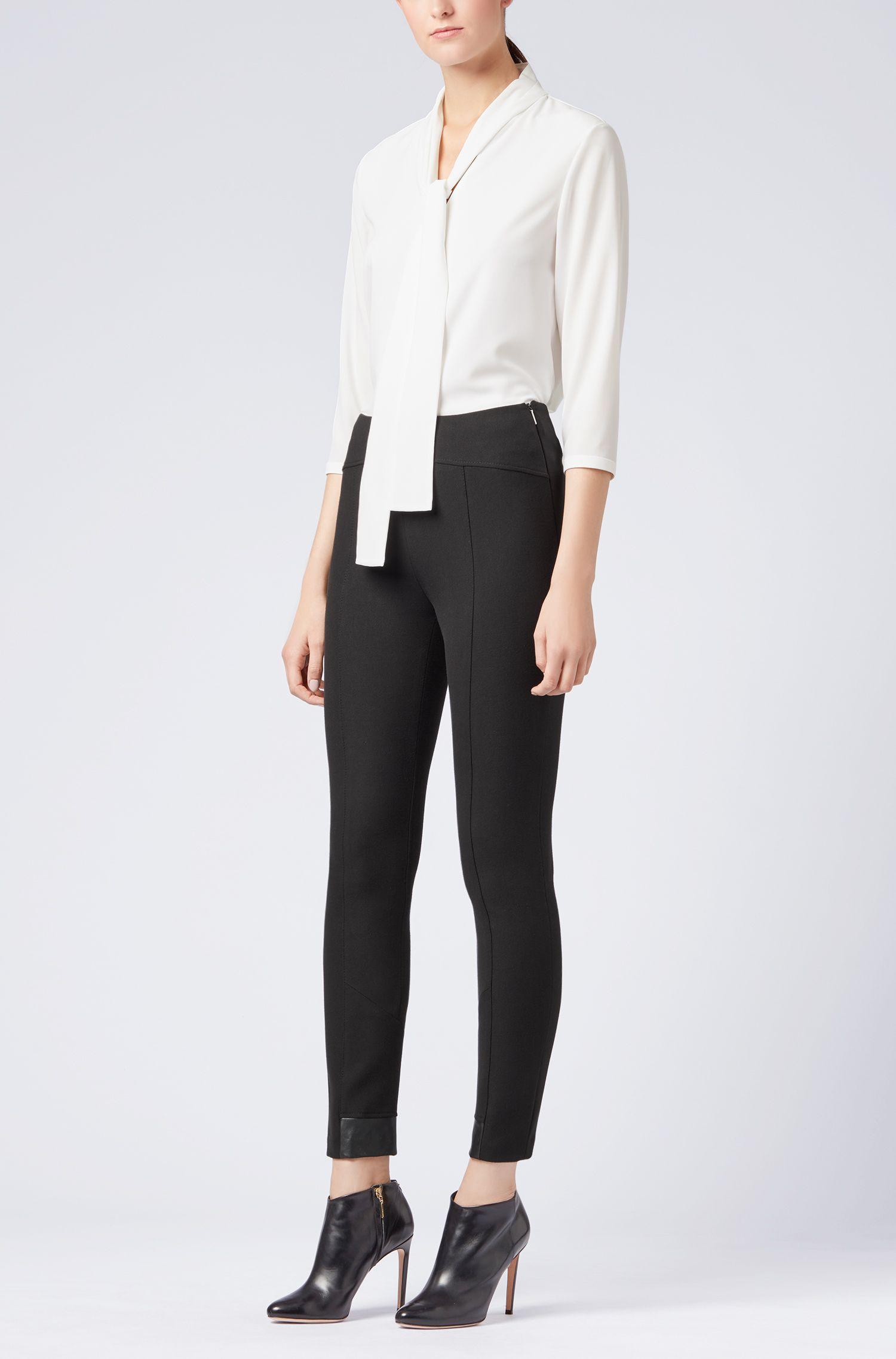 Leichte Regular-Fit Bluse aus elastischem Krepp mit Schleife am Ausschnitt, Natur