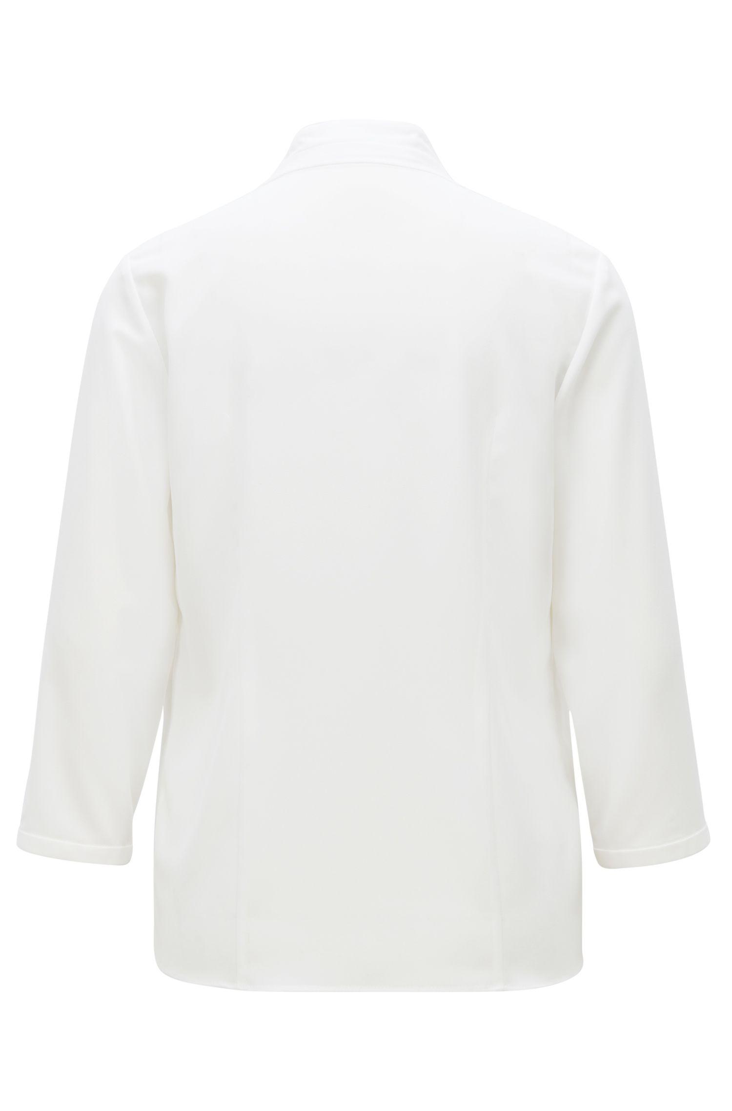 Blusa ligera en crepé elástico con lazo en el cuello, Natural