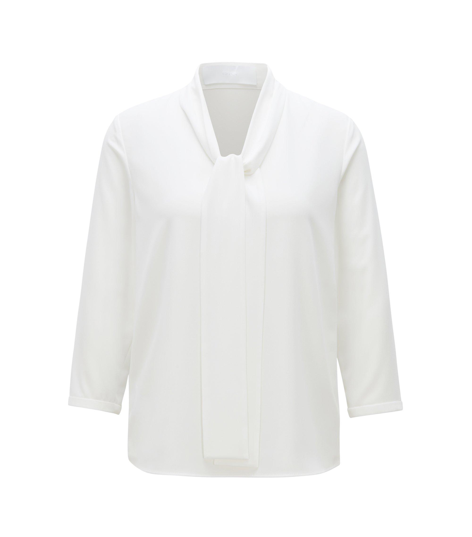 Lichte blouse van stretchcrêpe met strikkraag, Naturel